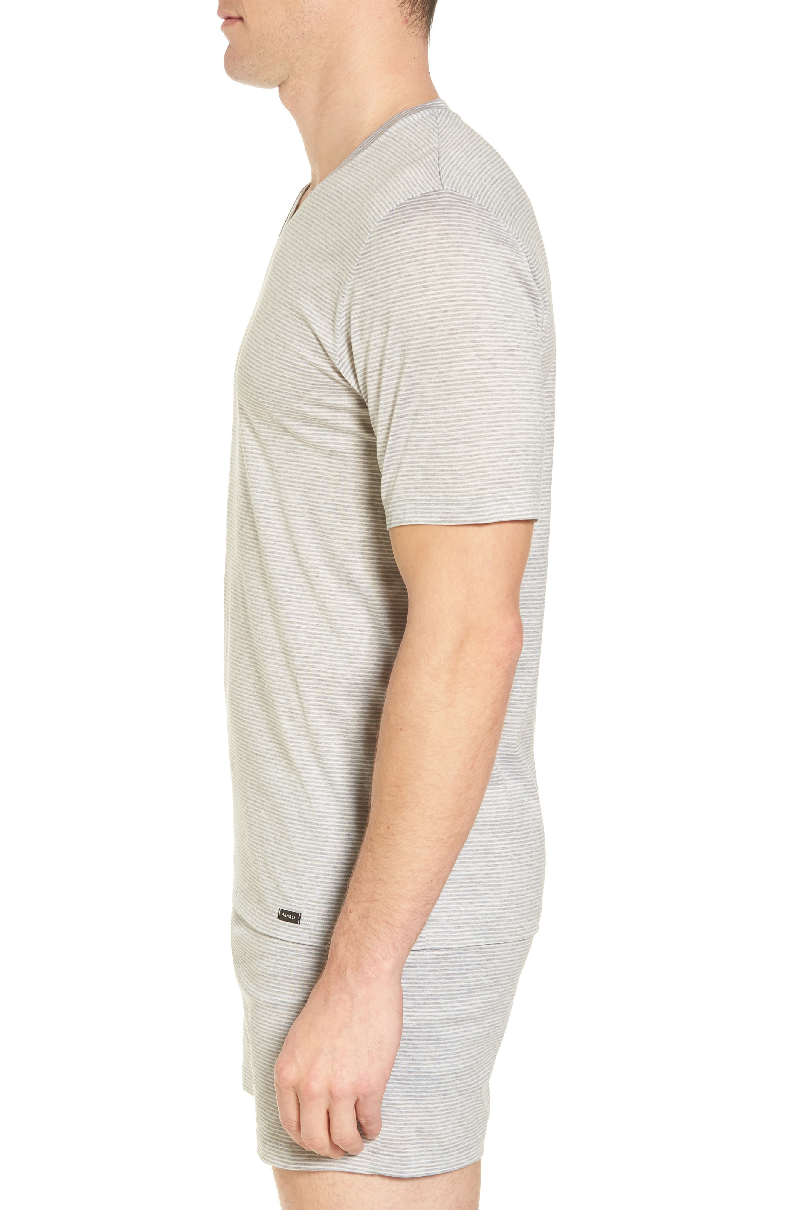 Sporty Stripe Cotton V-Neck T-Shirt,                             Alternate thumbnail 3, color,                             MELANGE STRIPE