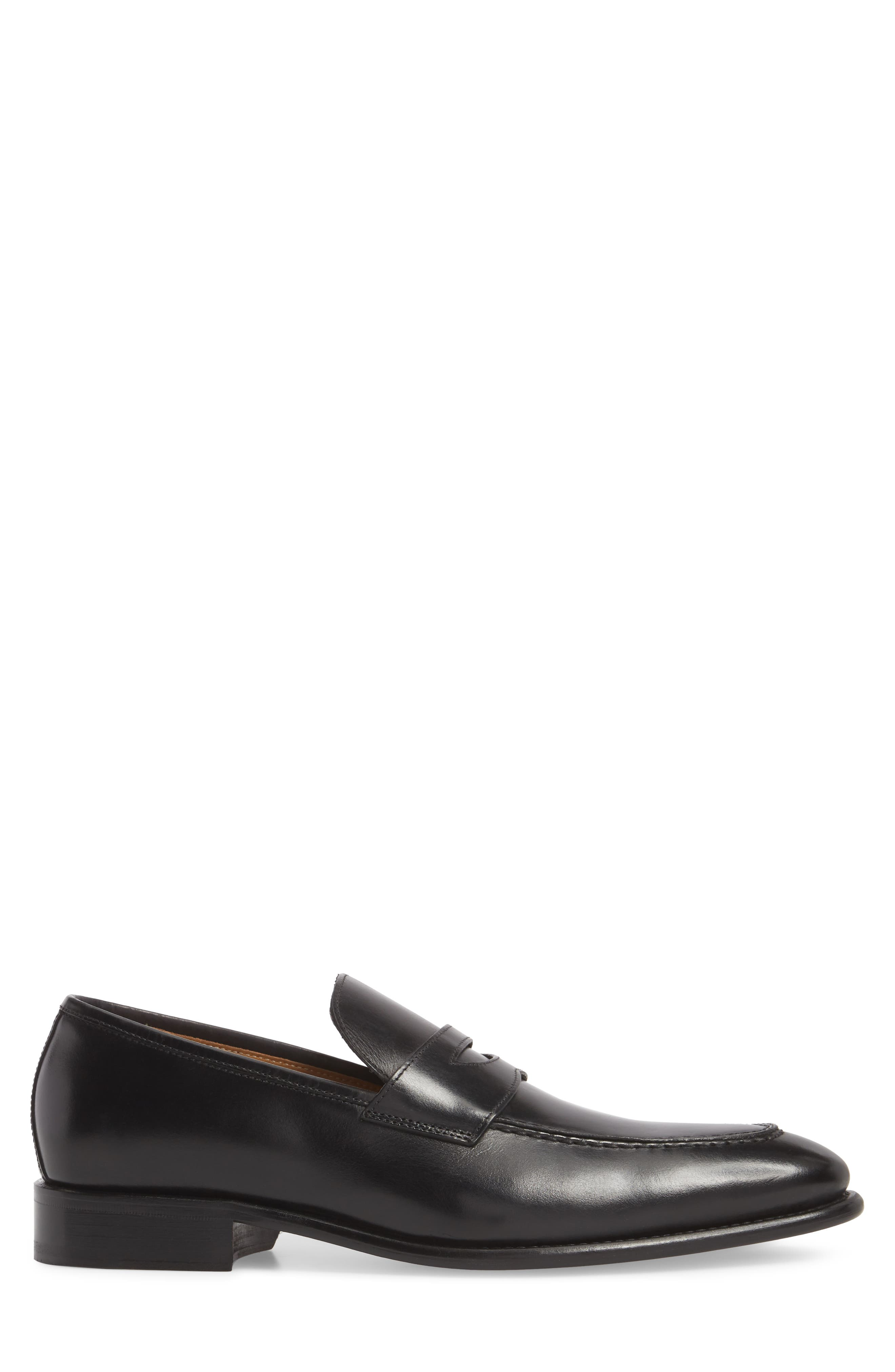 Imperial Venucci Apron Toe Penny Loafer,                             Alternate thumbnail 3, color,                             BLACK LEATHER