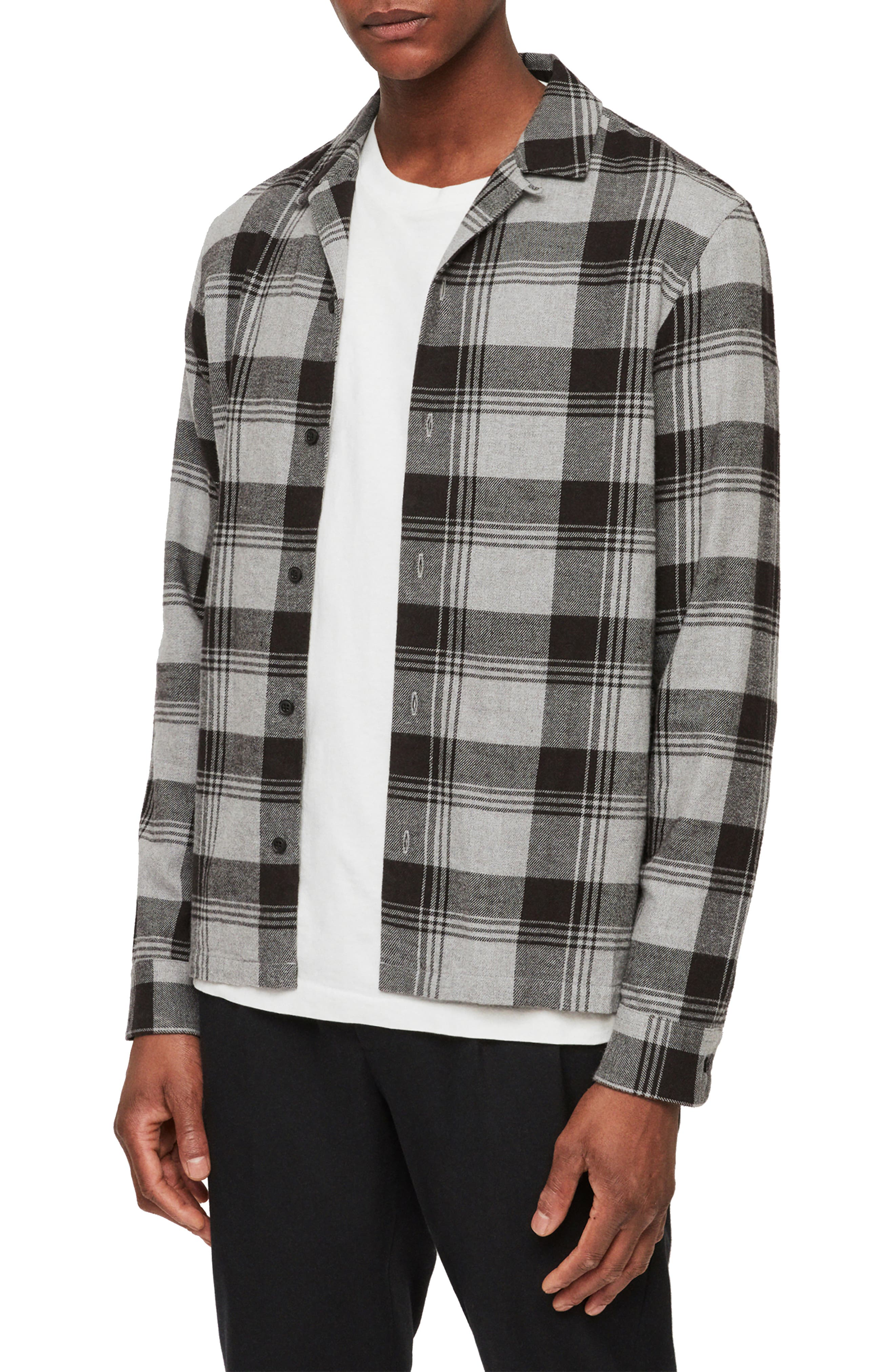 Danby Flannel Shirt Jacket, Main, color, BLACK/ ECRU WHITE