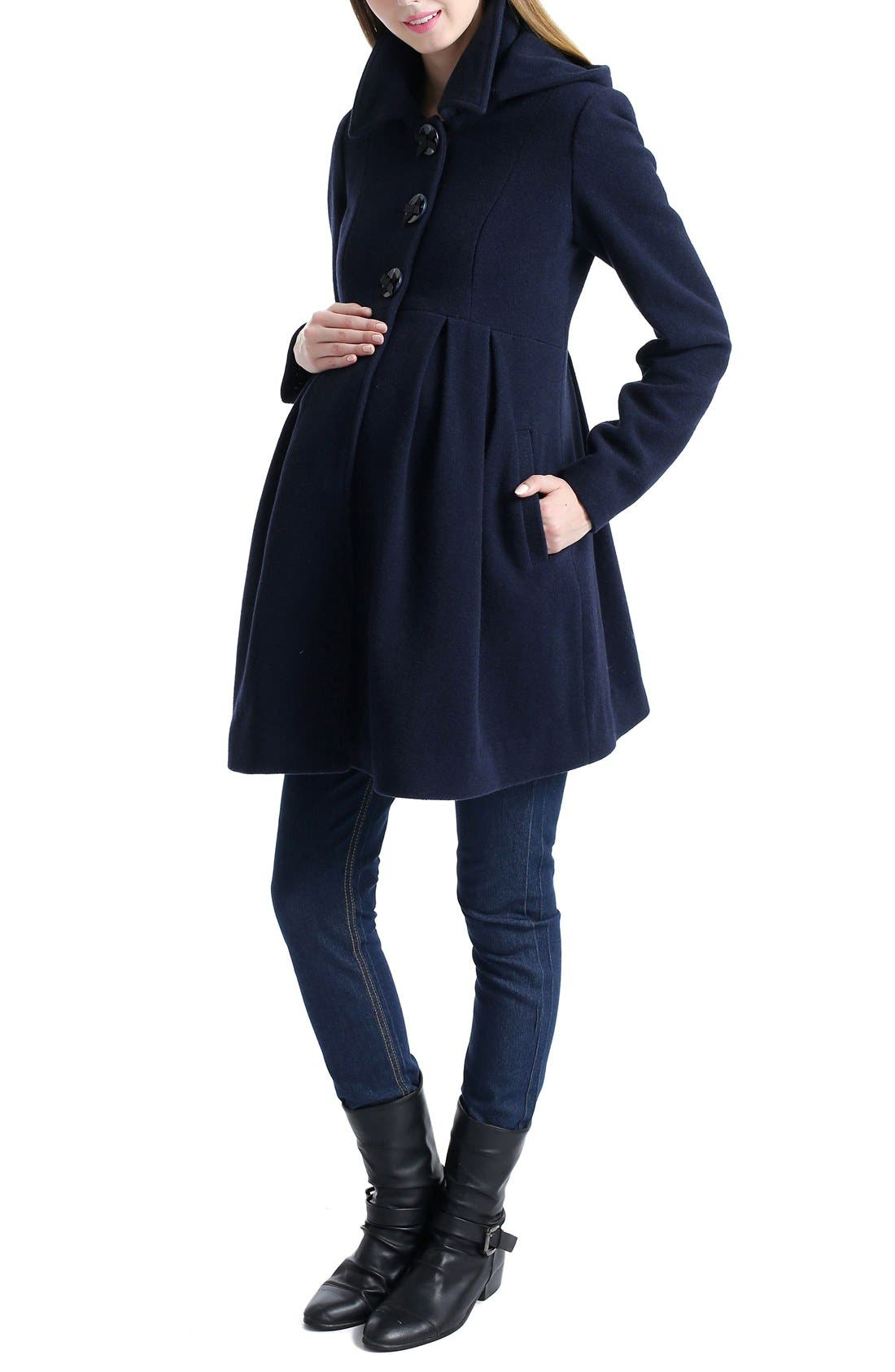 Faye Hooded Maternity Peacoat,                             Alternate thumbnail 4, color,                             NAVY
