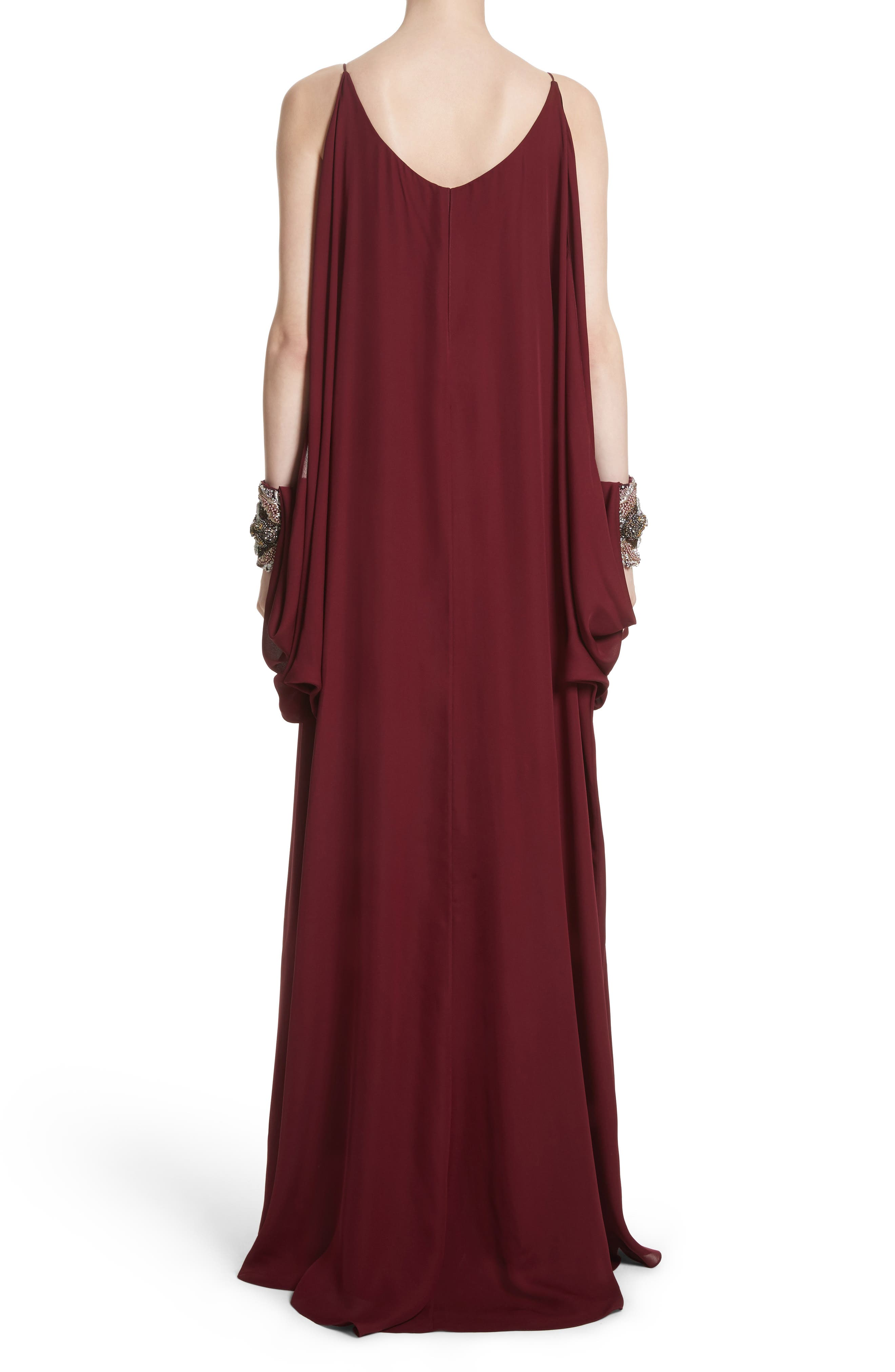 Badgley Mischka Couture Embellished Cuff Silk Caftan,                             Alternate thumbnail 2, color,                             930