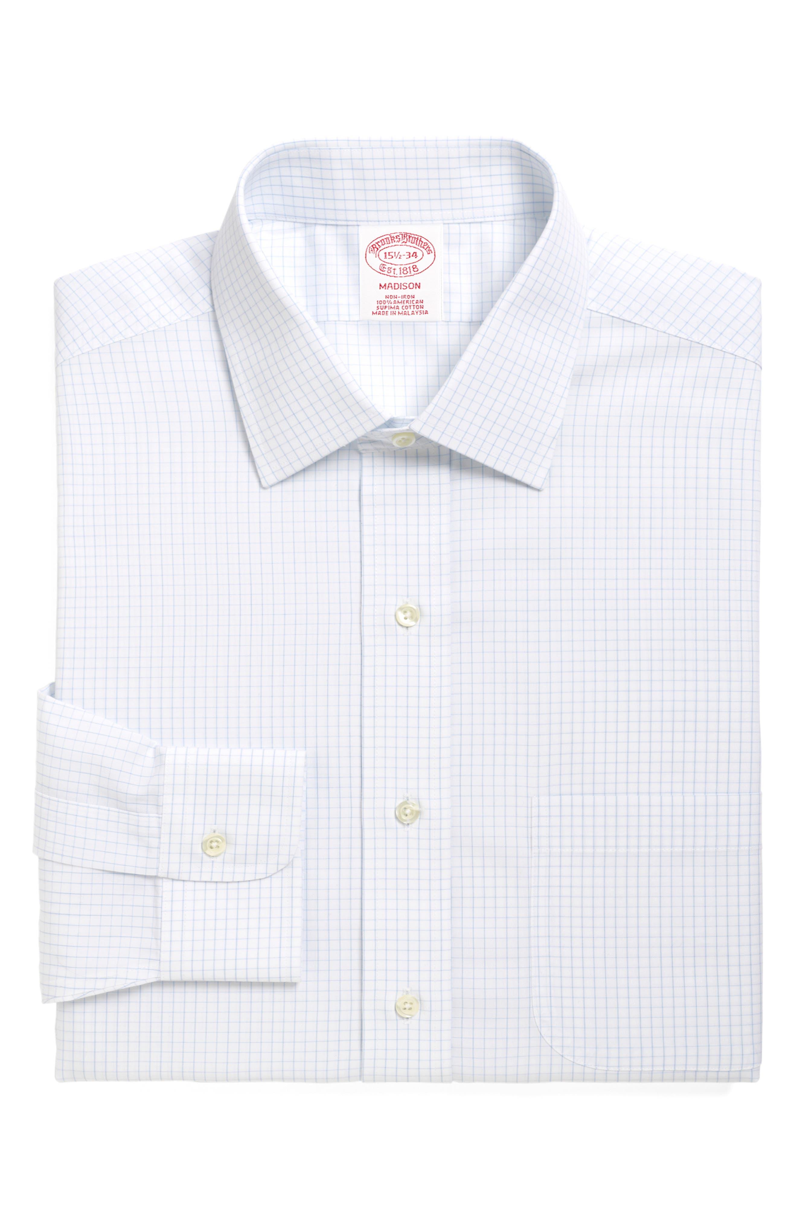 Classic Fit Check Dress Shirt,                         Main,                         color, LIGHT/ PASTEL BLUE