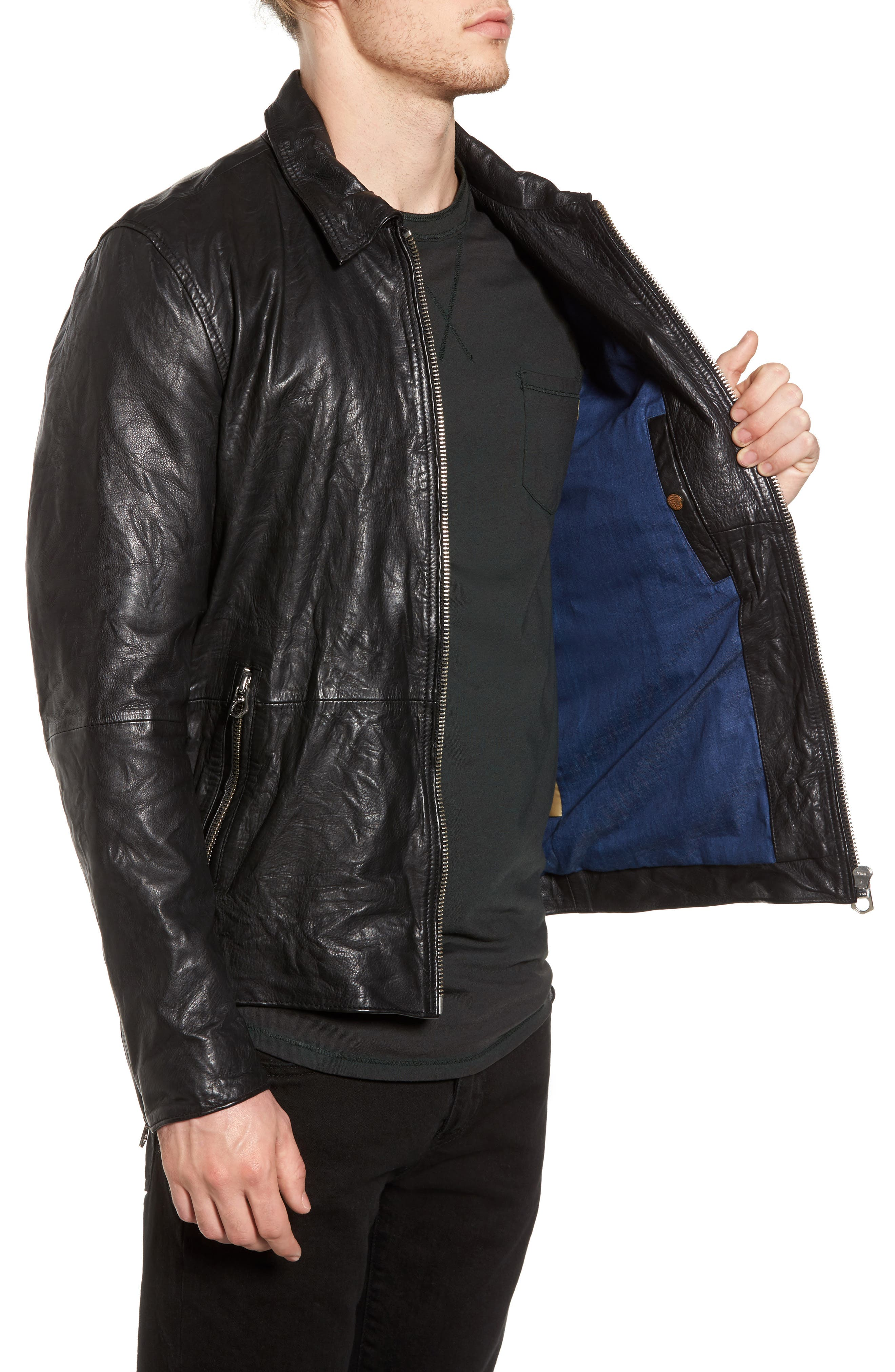 Lightweight Washed Leather Jacket,                             Alternate thumbnail 3, color,