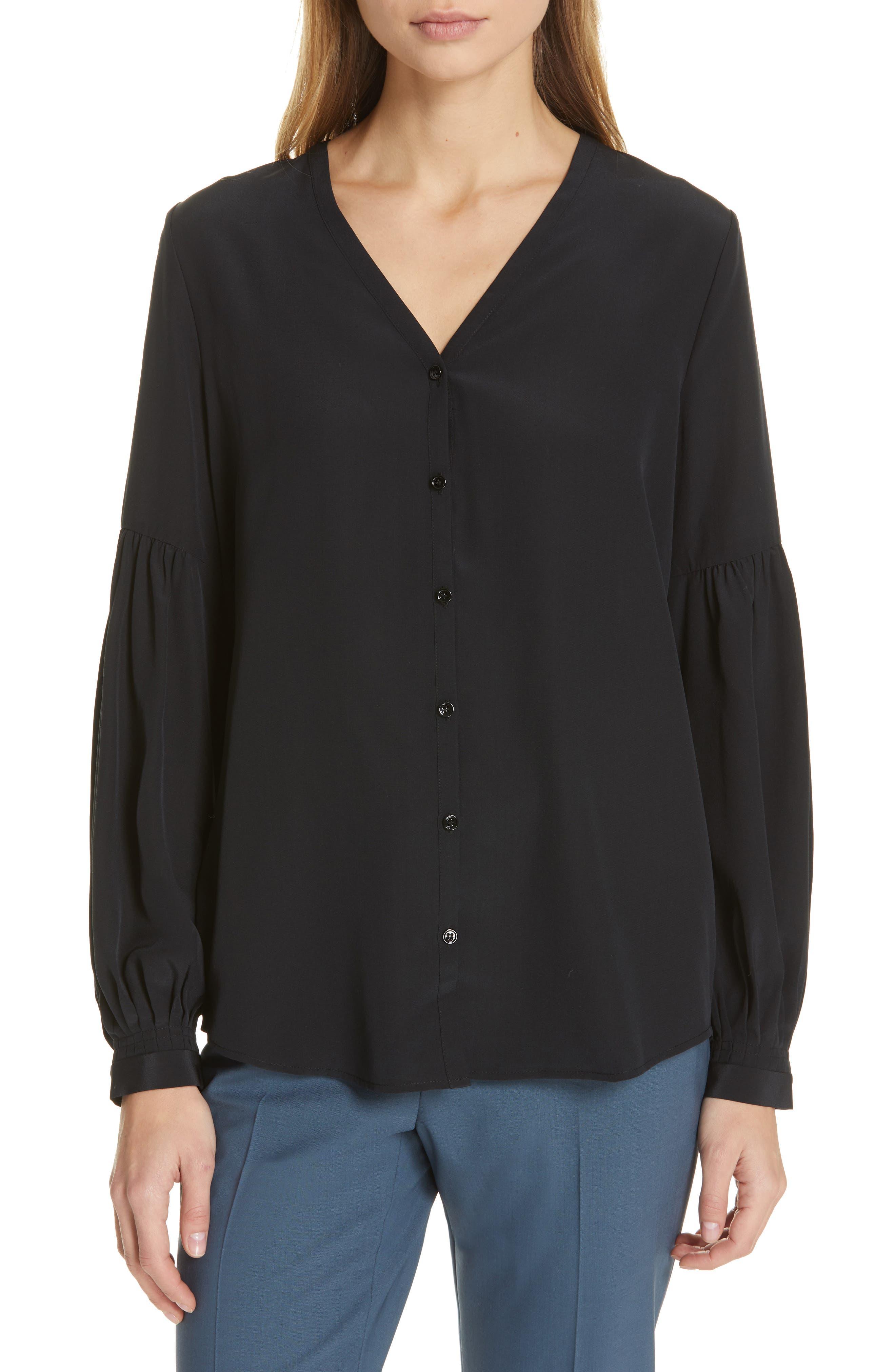 Silk Top, Main, color, BLACK