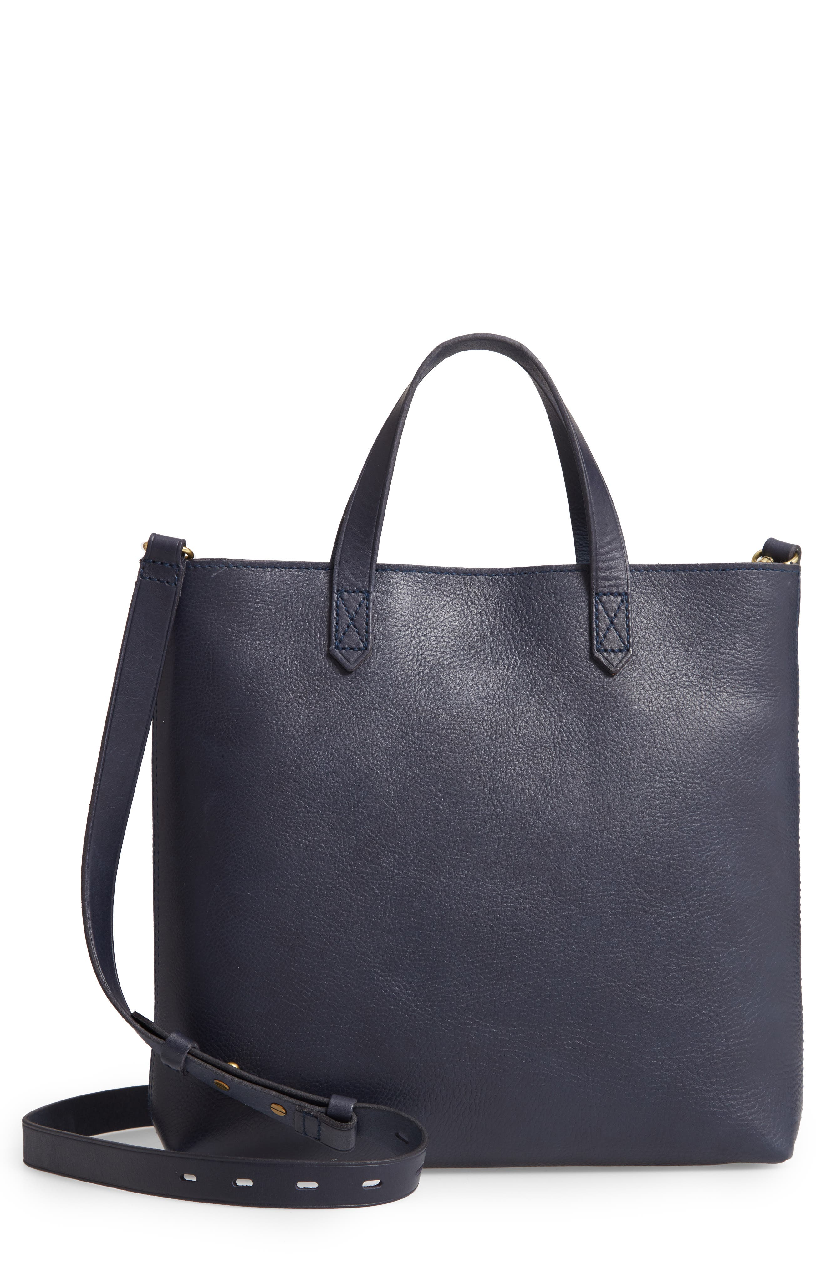 Small Transport Leather Crossbody Tote,                             Main thumbnail 1, color,                             DEEP NAVY