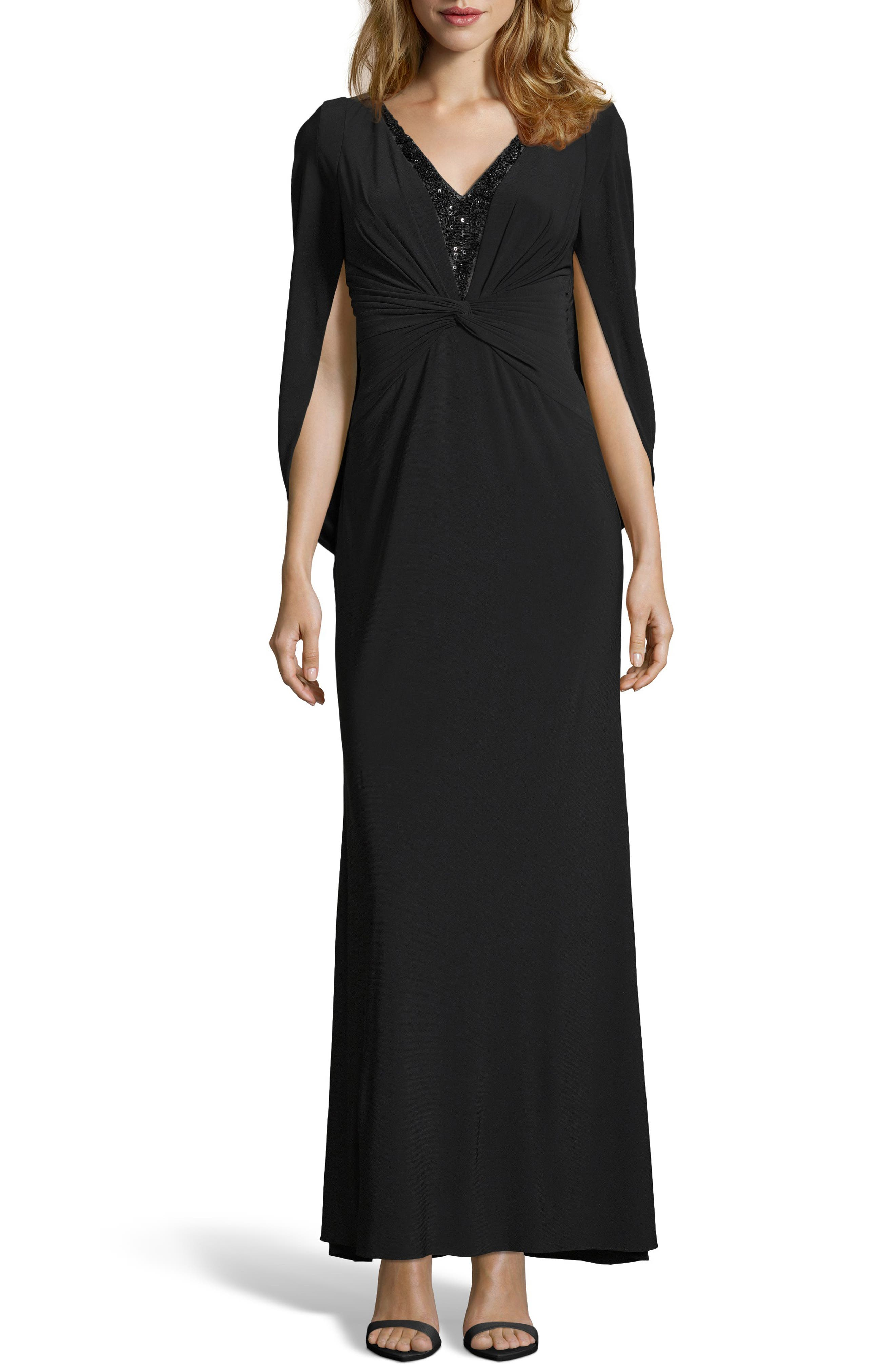Adrianna Papell Sequin Trim Jersey Gown, Black