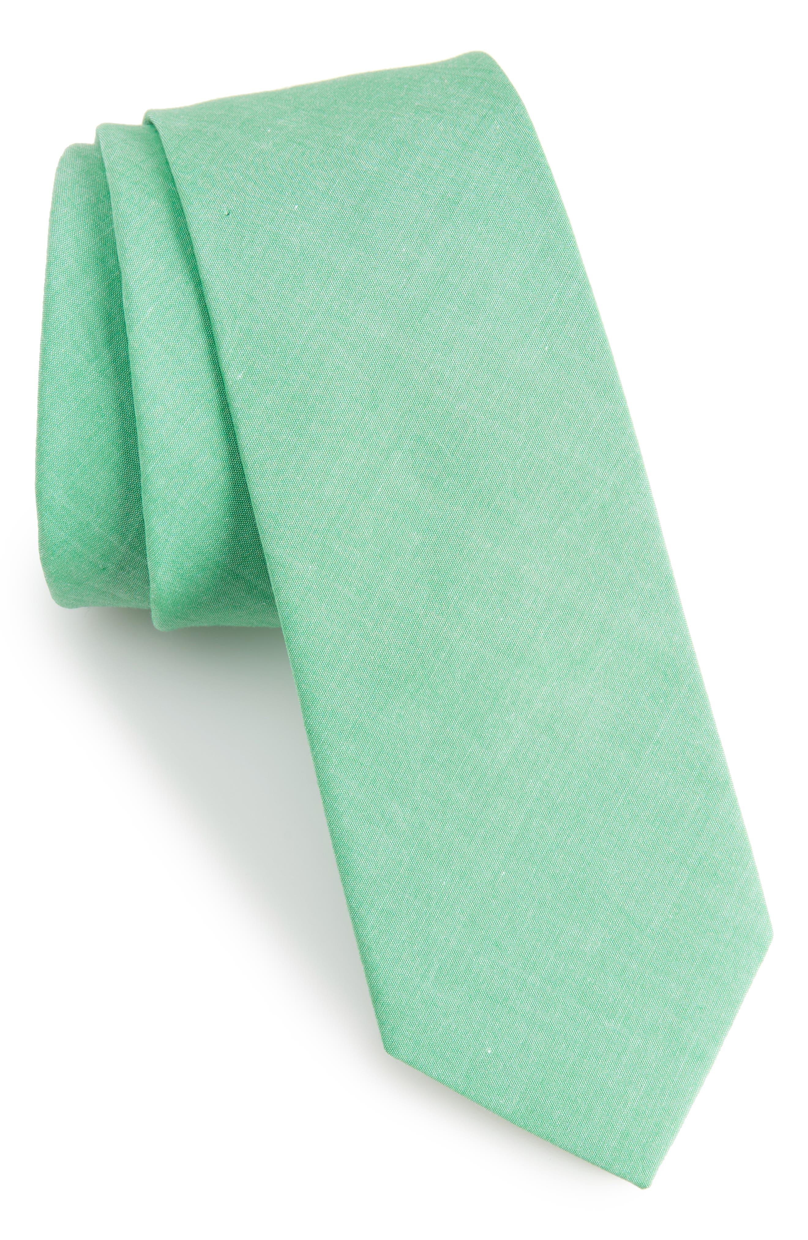 Desmond Solid Cotton Skinny Tie,                             Main thumbnail 1, color,                             334