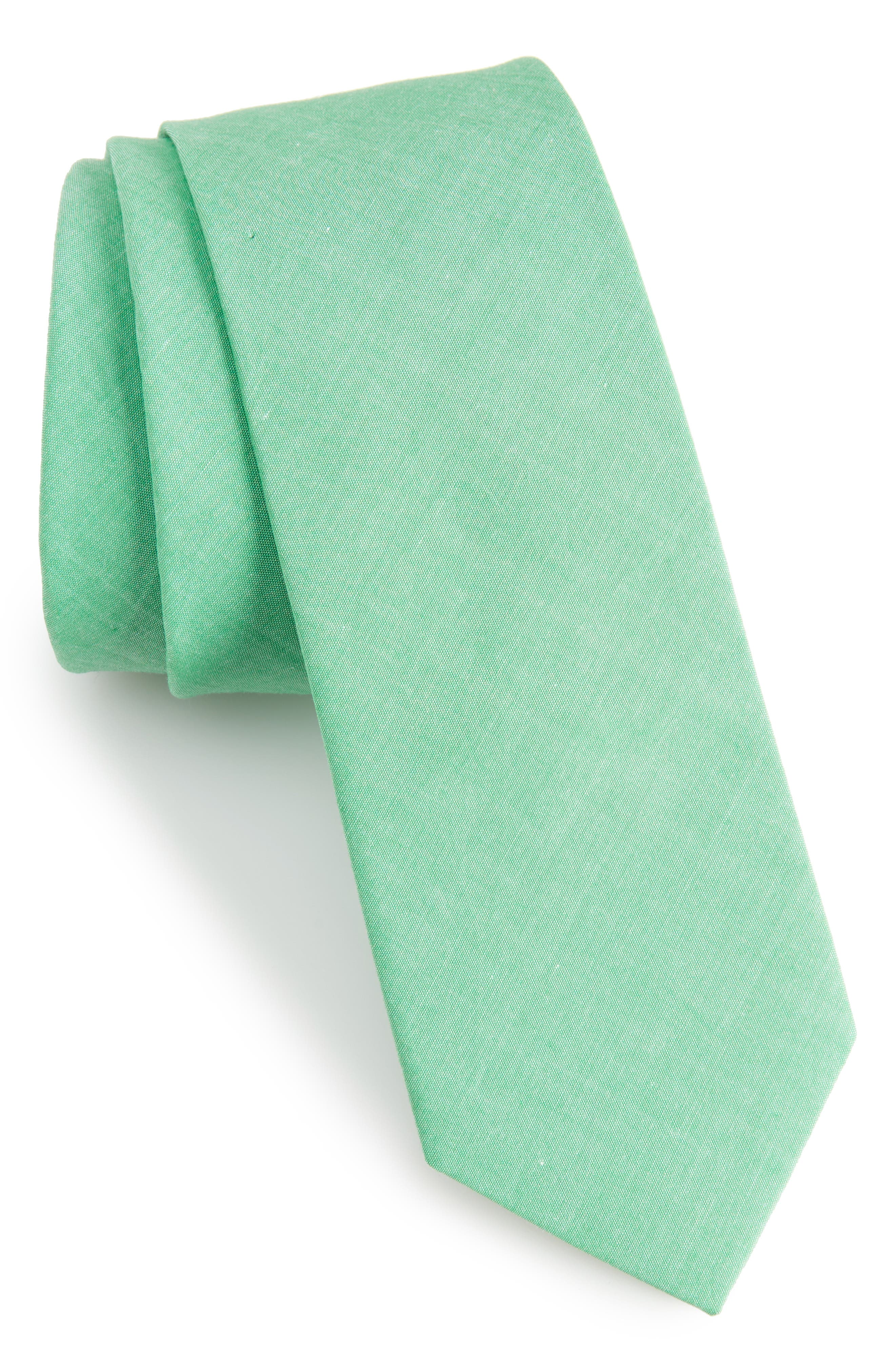 Desmond Solid Cotton Skinny Tie,                         Main,                         color, 334