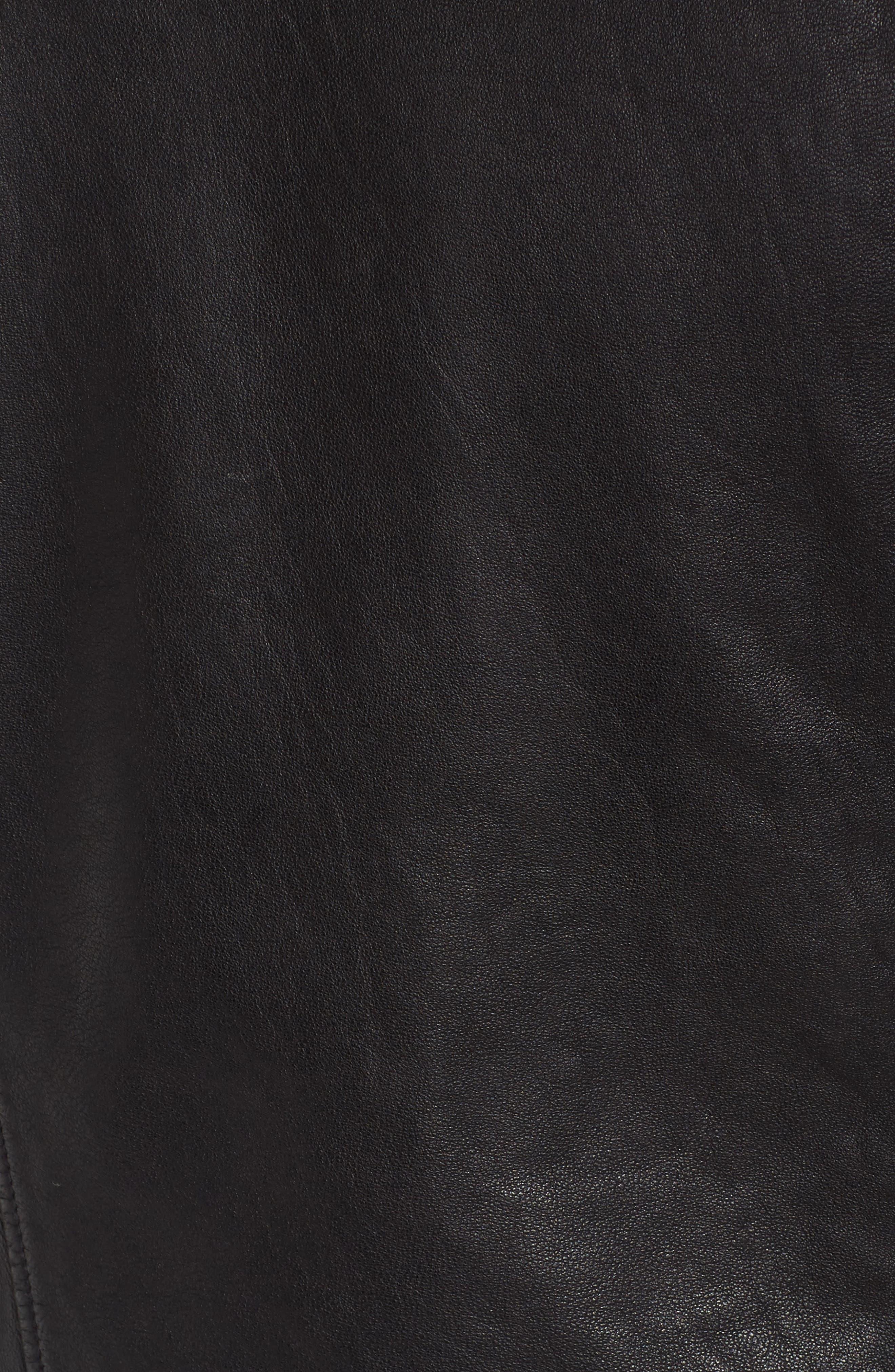 Leather Moto Jacket,                             Alternate thumbnail 5, color,                             001
