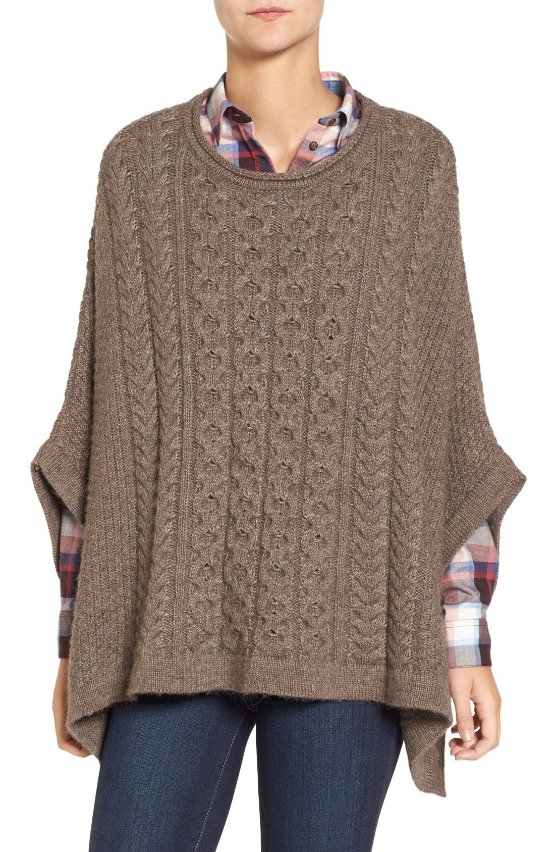 'Clover' Cable Knit Poncho, Main, color, 270