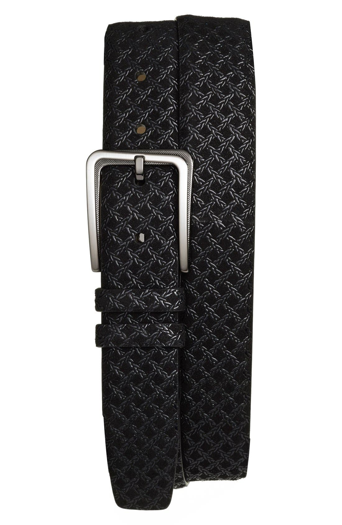 'Brill Ascot' Leather Belt,                             Main thumbnail 1, color,                             BLACK