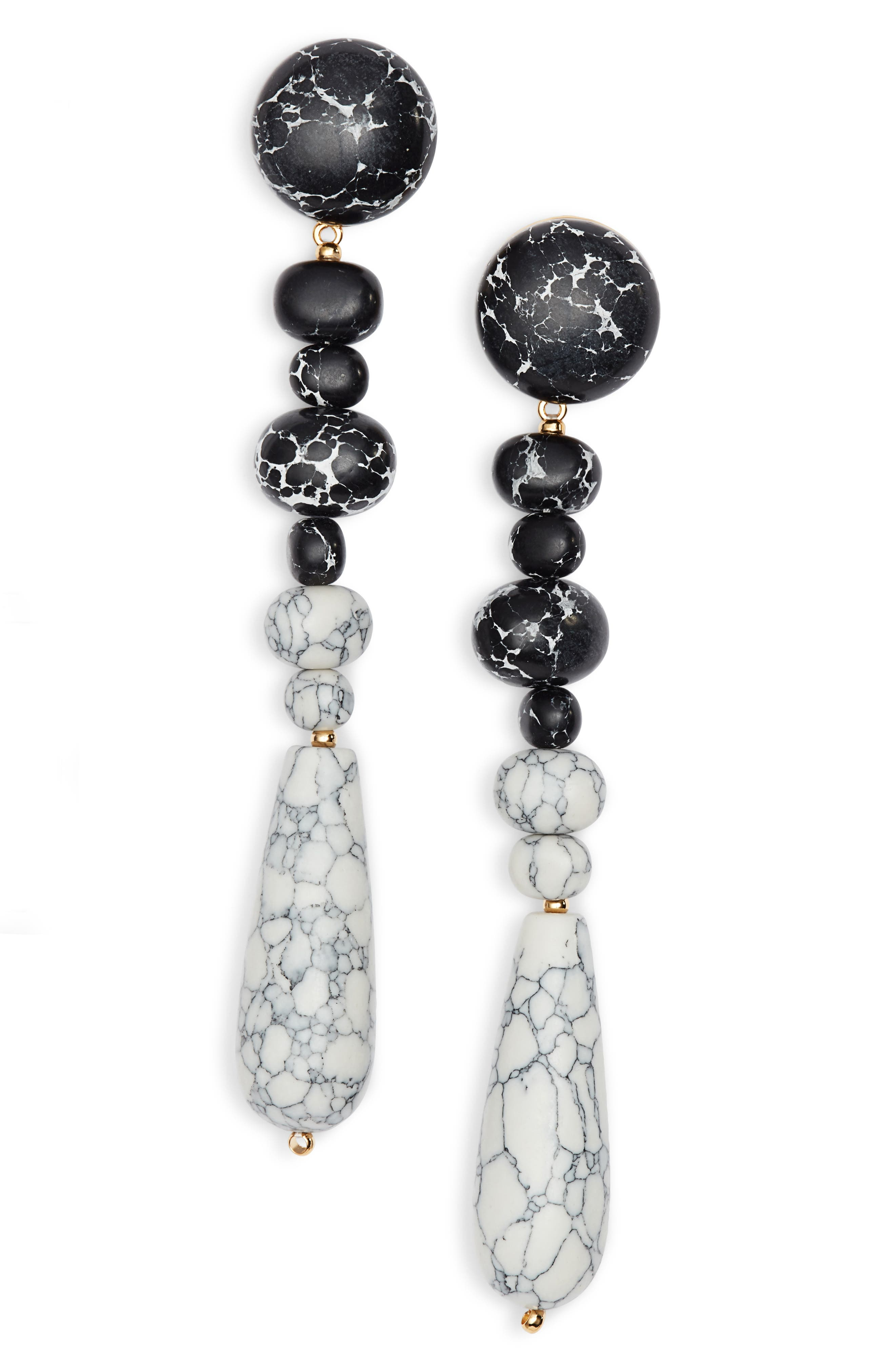 Copacabana Drop Earrings,                             Main thumbnail 1, color,                             BLACK AND WHITE