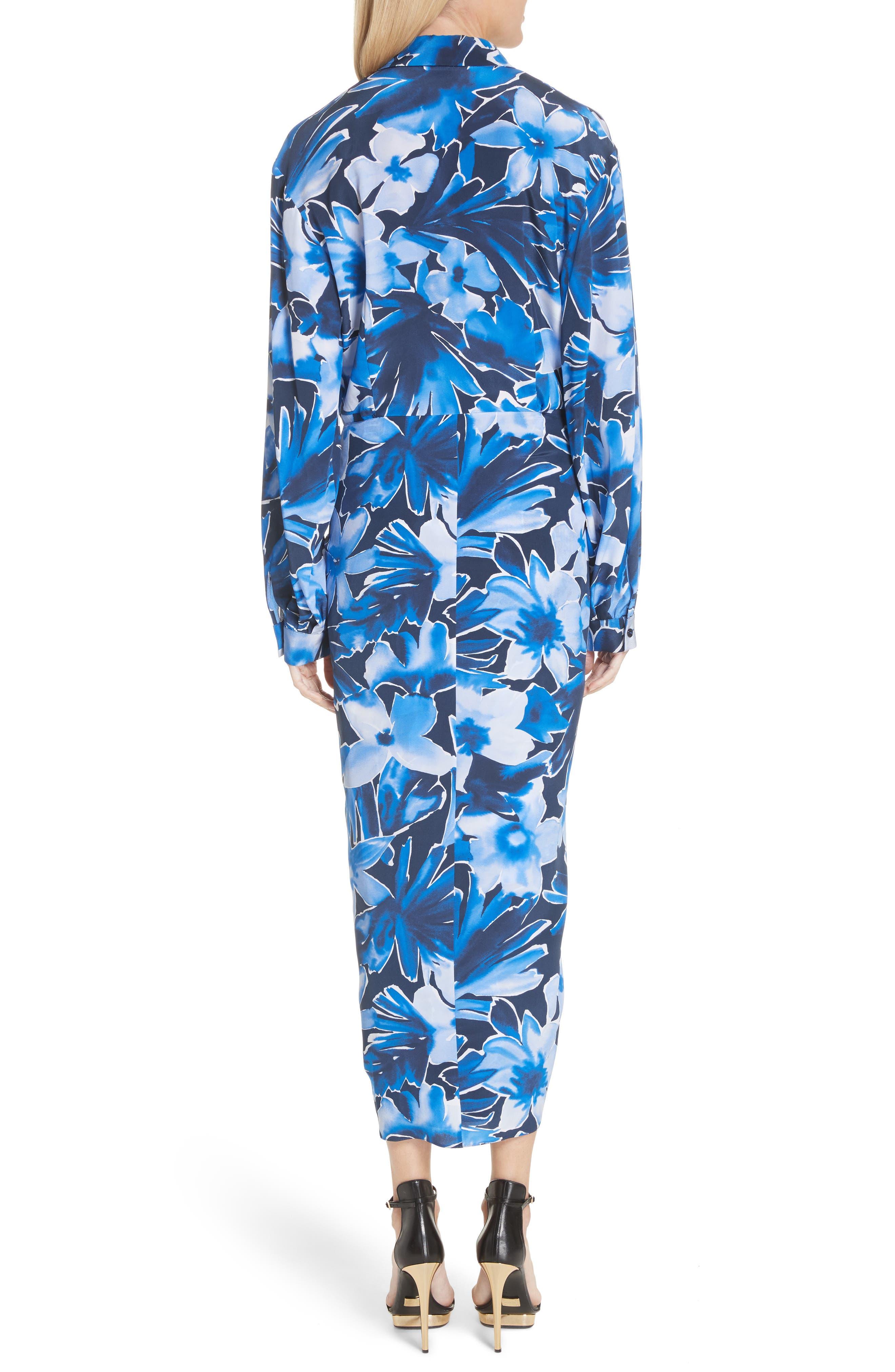 Floral Silk Sarong Dress,                             Alternate thumbnail 2, color,