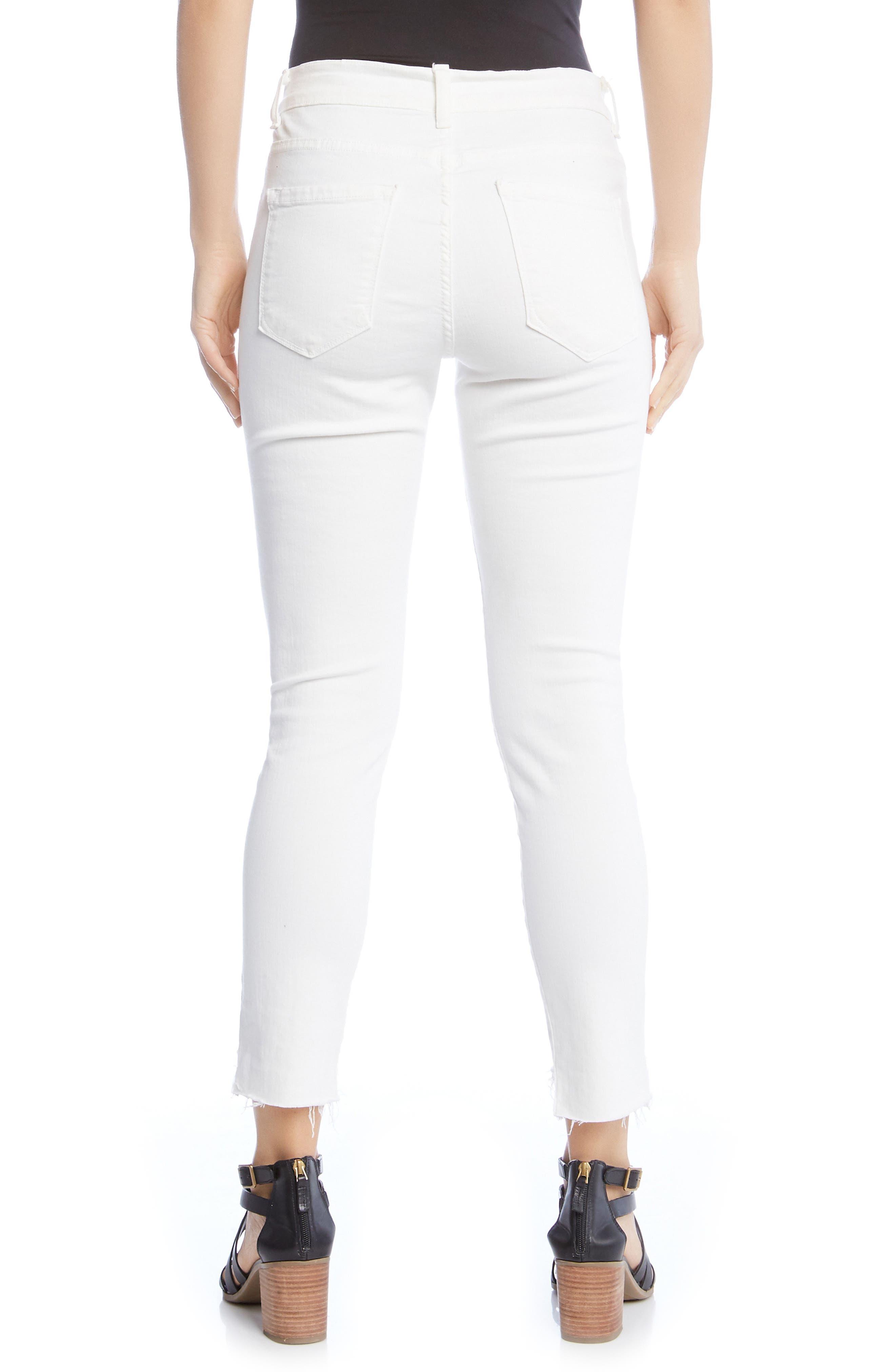 Zuma Step Hem Skinny Jeans,                             Alternate thumbnail 2, color,                             WHITE