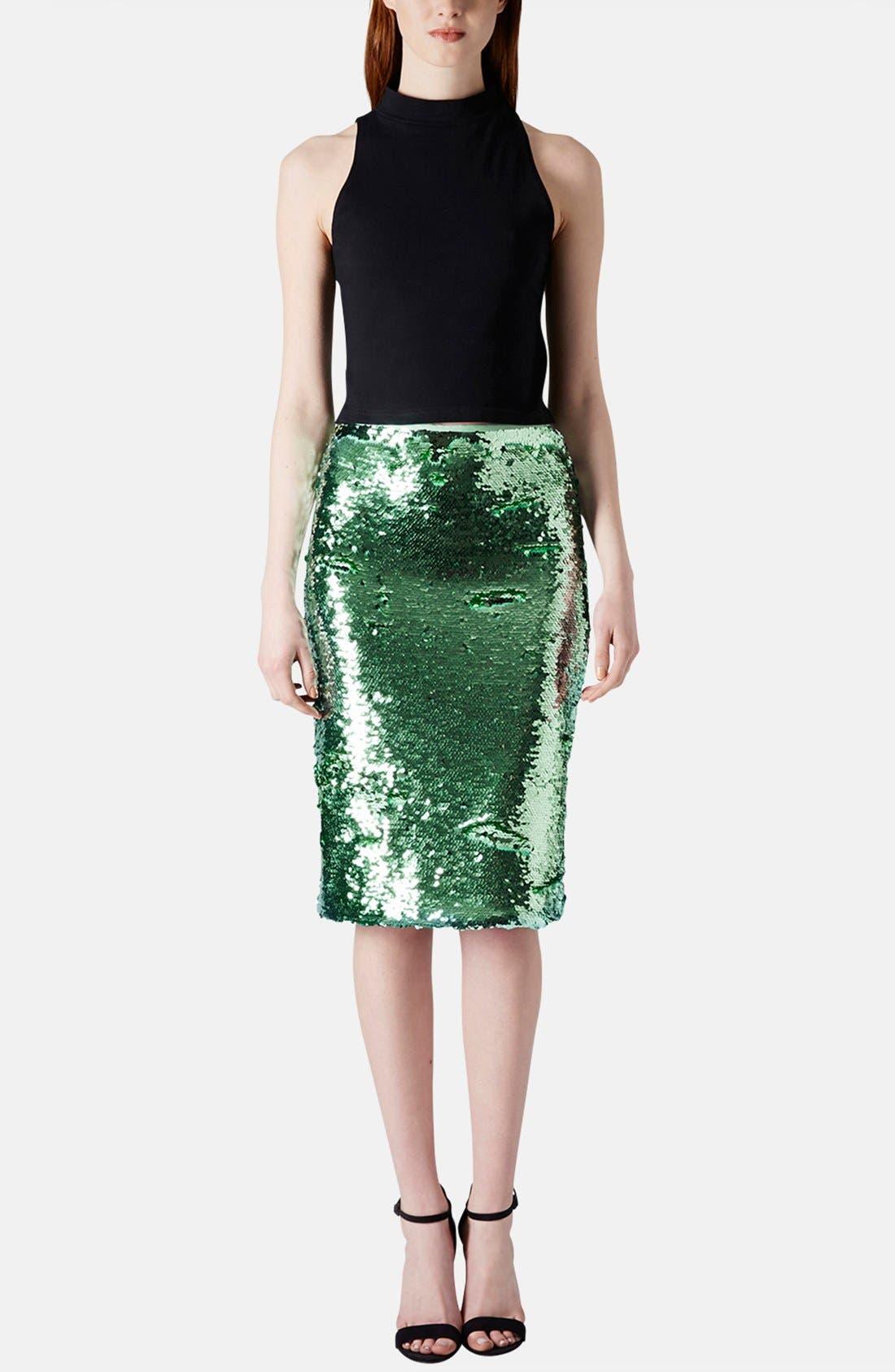 Sequin Pencil Skirt,                             Alternate thumbnail 5, color,                             330