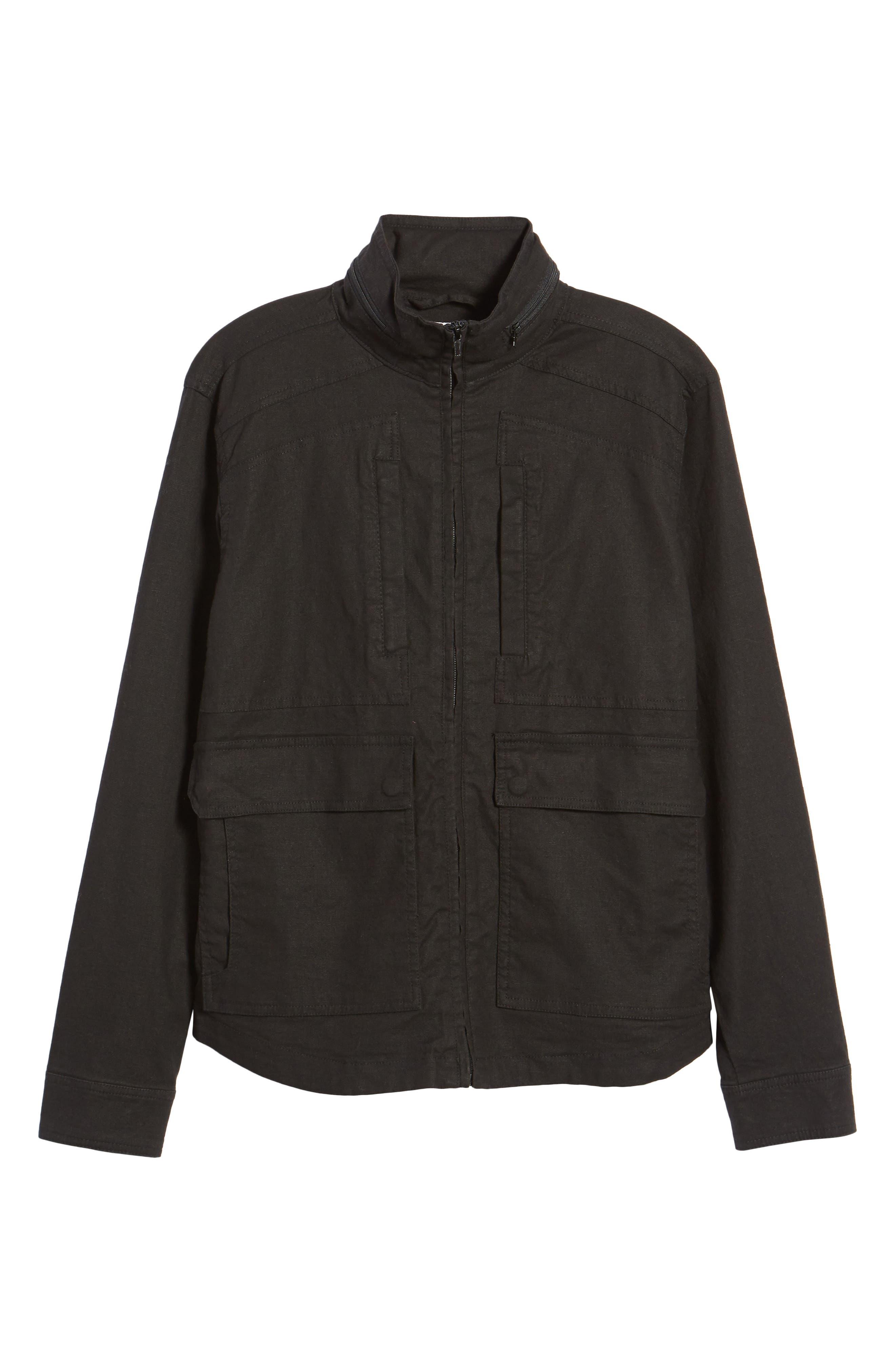 Linen Blend Zip Jacket,                             Alternate thumbnail 5, color,
