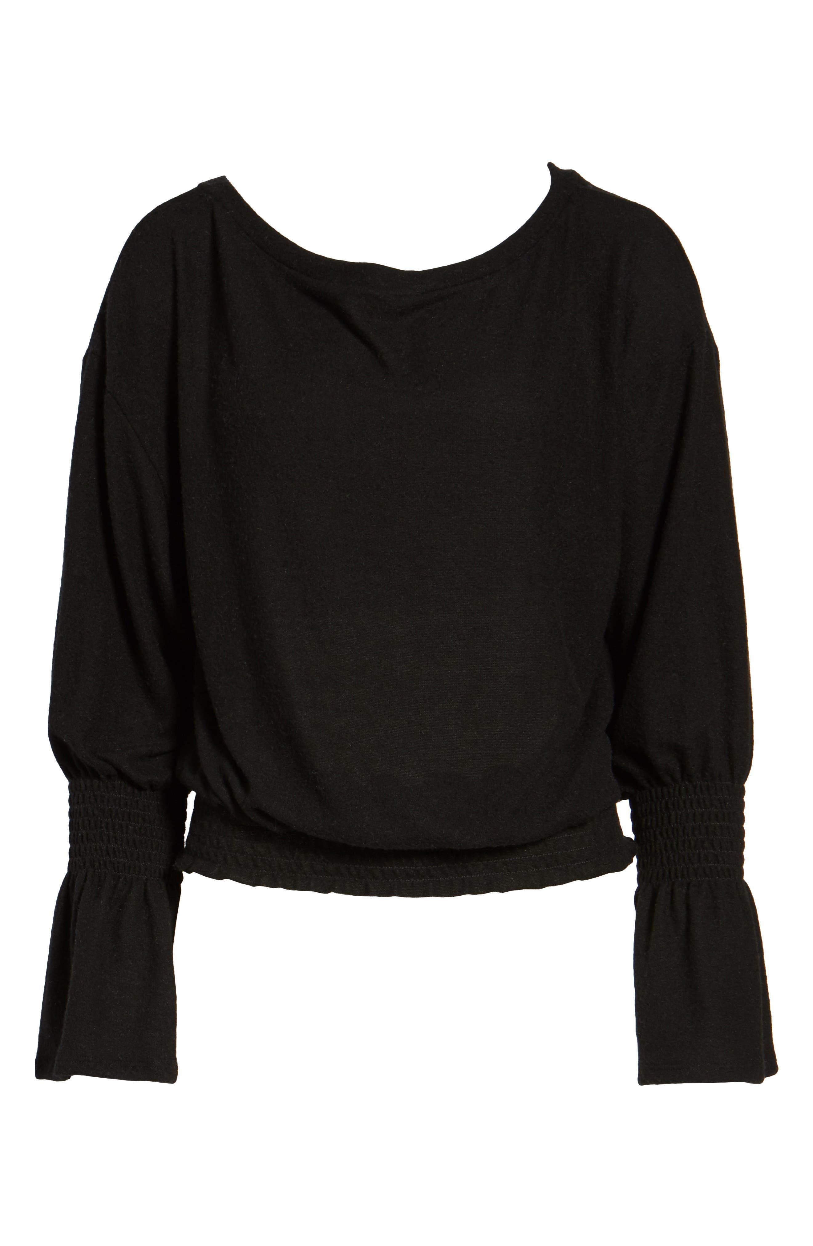 Brushed Smocked Sweatshirt,                             Alternate thumbnail 6, color,                             001