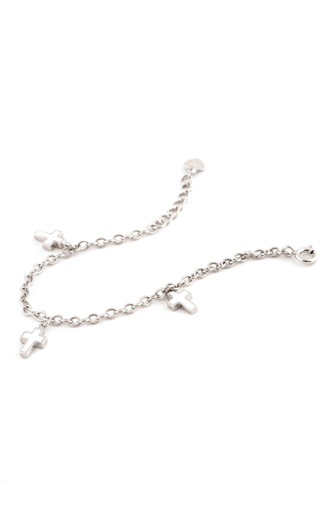 Enameled Cross Sterling Silver Charm Bracelet,                             Main thumbnail 1, color,                             NONE