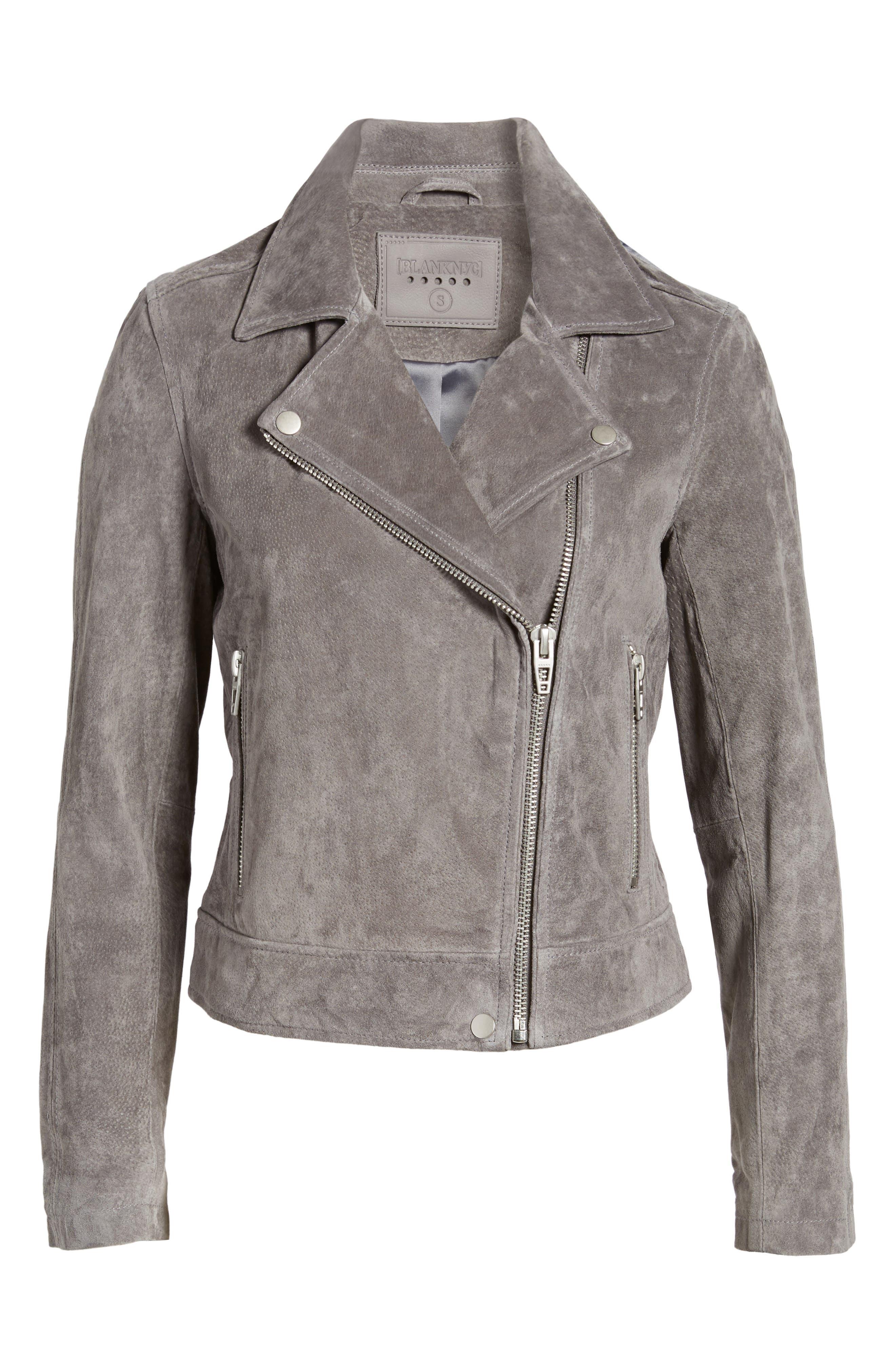 Suede Moto Jacket,                             Alternate thumbnail 42, color,