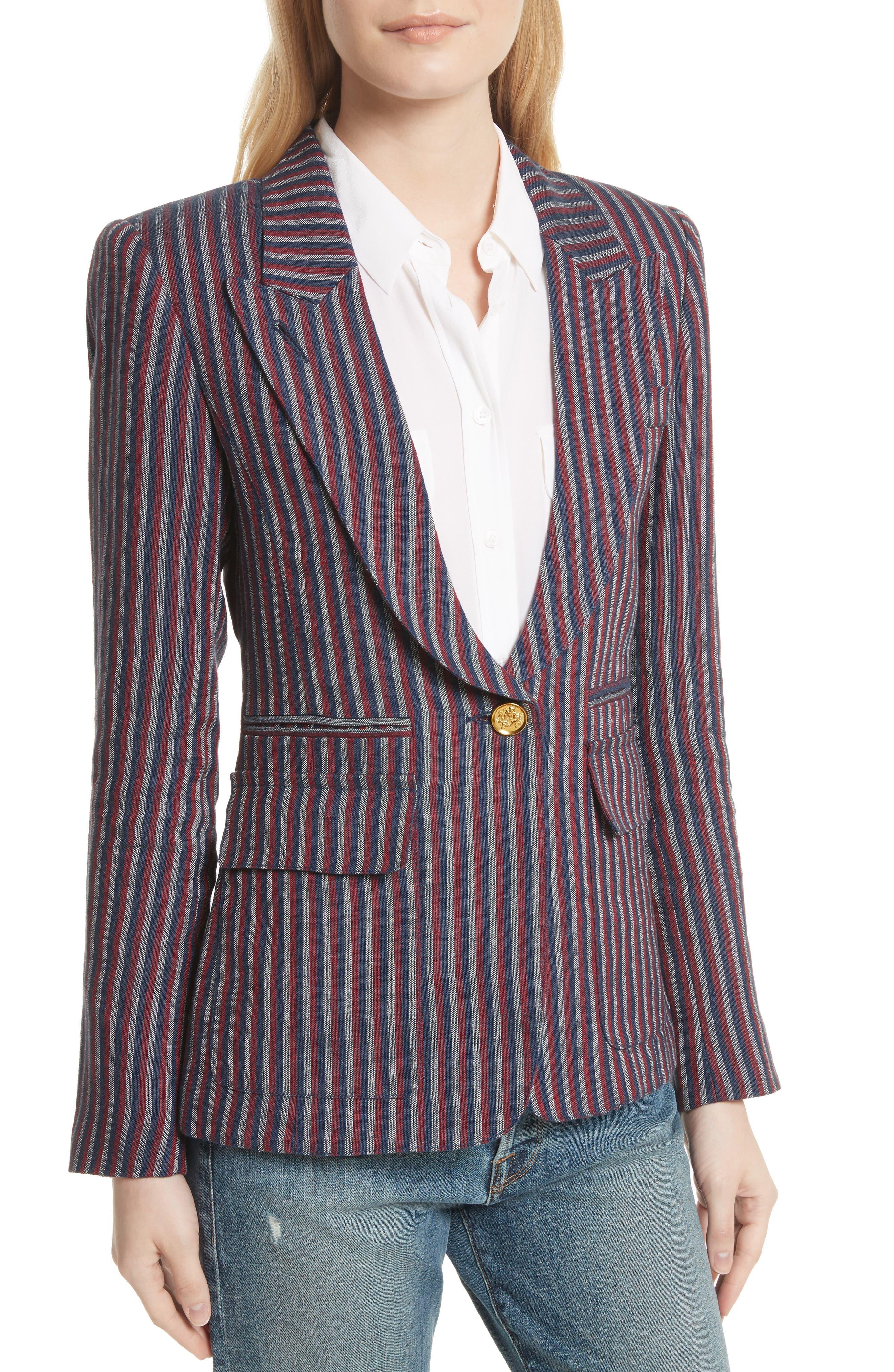 Stripe Cotton Blazer,                             Alternate thumbnail 4, color,                             607