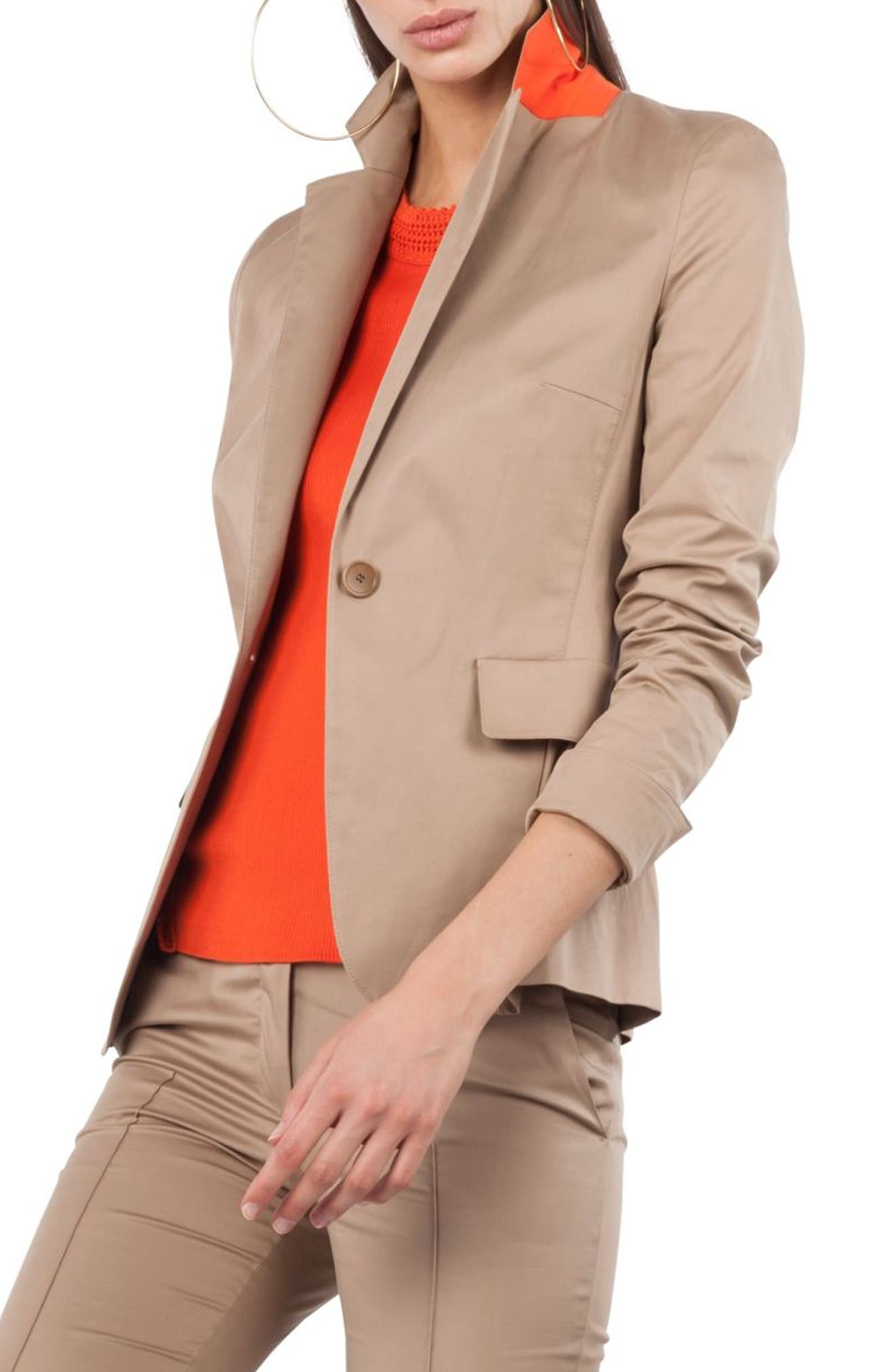 One Button Stretch Cotton Blazer,                             Alternate thumbnail 3, color,                             253