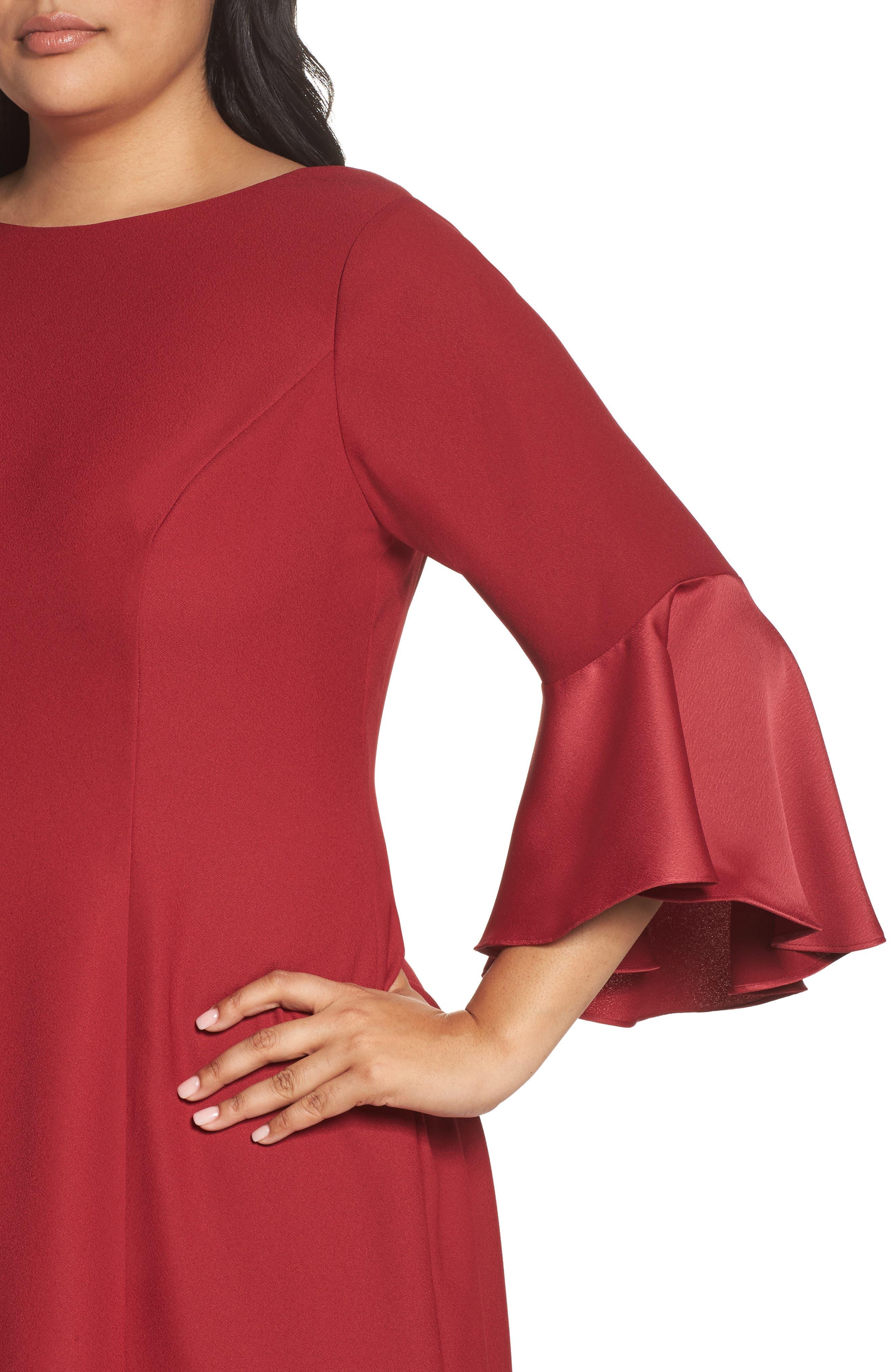 Bell Sleeve A-Line Dress,                             Alternate thumbnail 8, color,