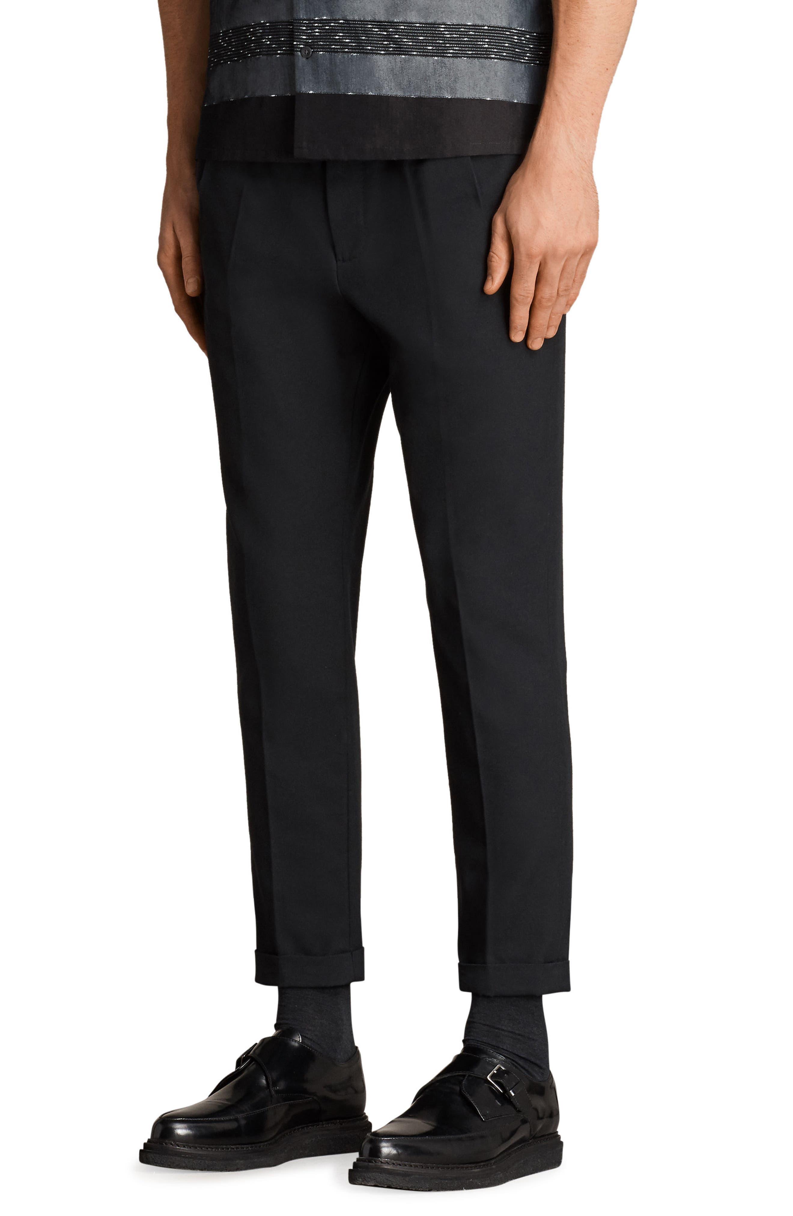 Tallis Pleated Cotton & Wool Trousers,                             Alternate thumbnail 4, color,                             BLACK