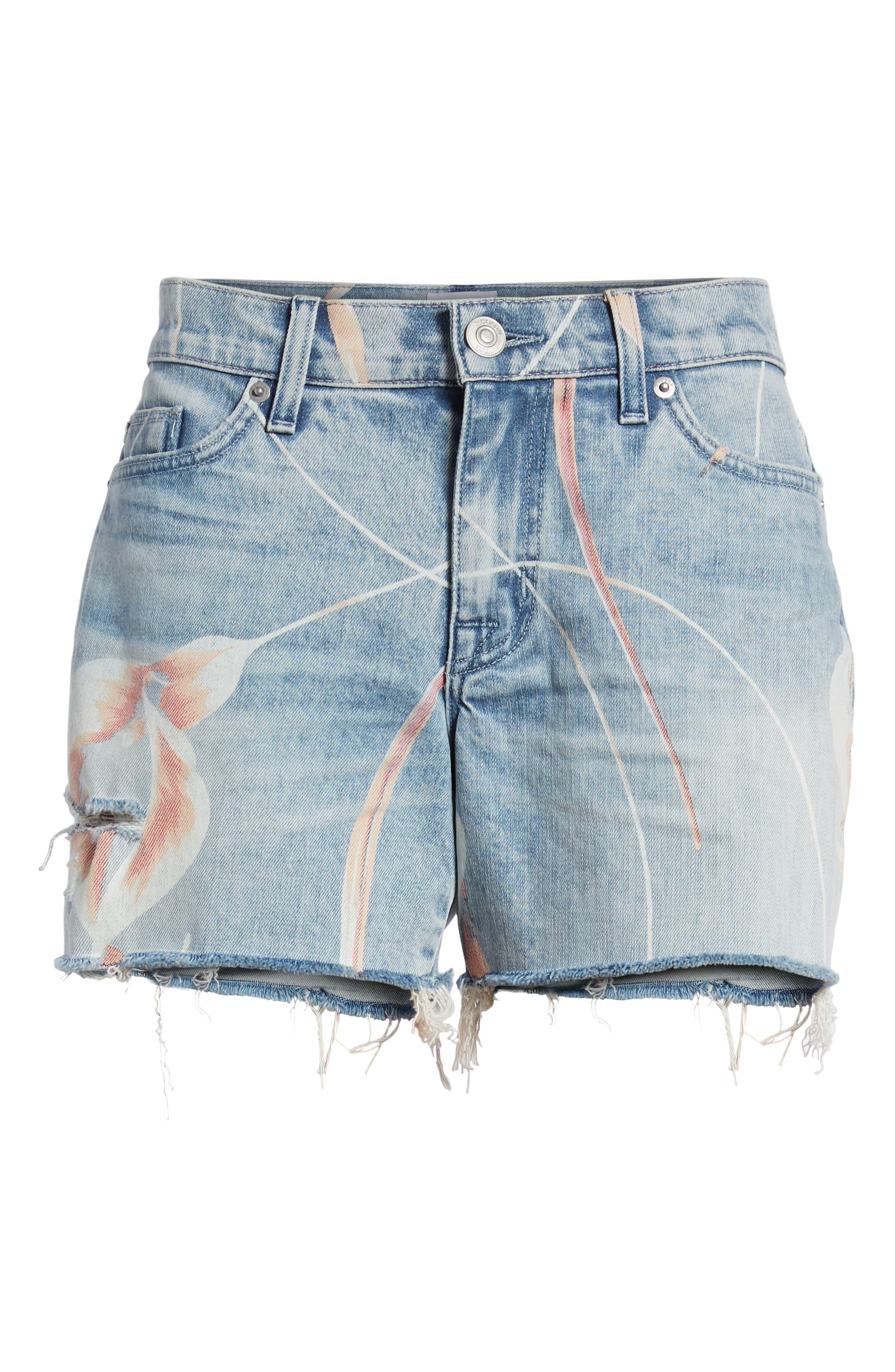 Valeri Painted Denim Shorts,                             Alternate thumbnail 7, color,                             001