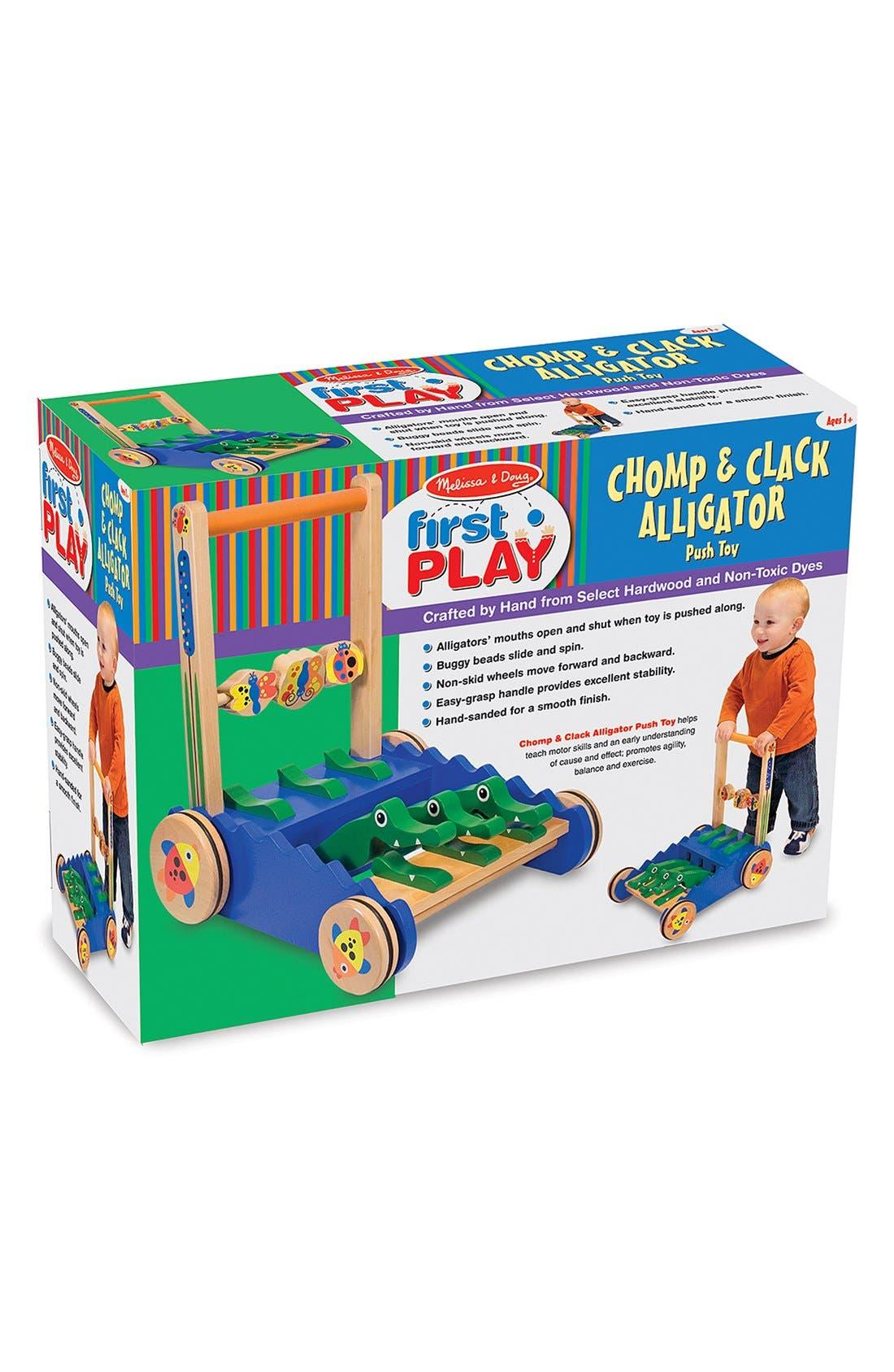 'Chomp & Clack' Personalized Alligator Push Toy,                             Alternate thumbnail 4, color,                             BLUE
