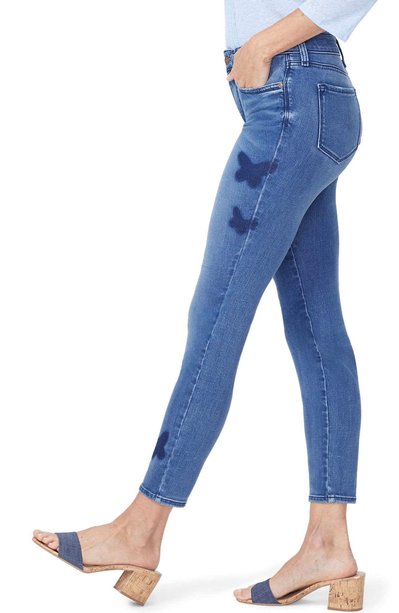 Ami Butterfly Skinny Jeans,                             Alternate thumbnail 3, color,