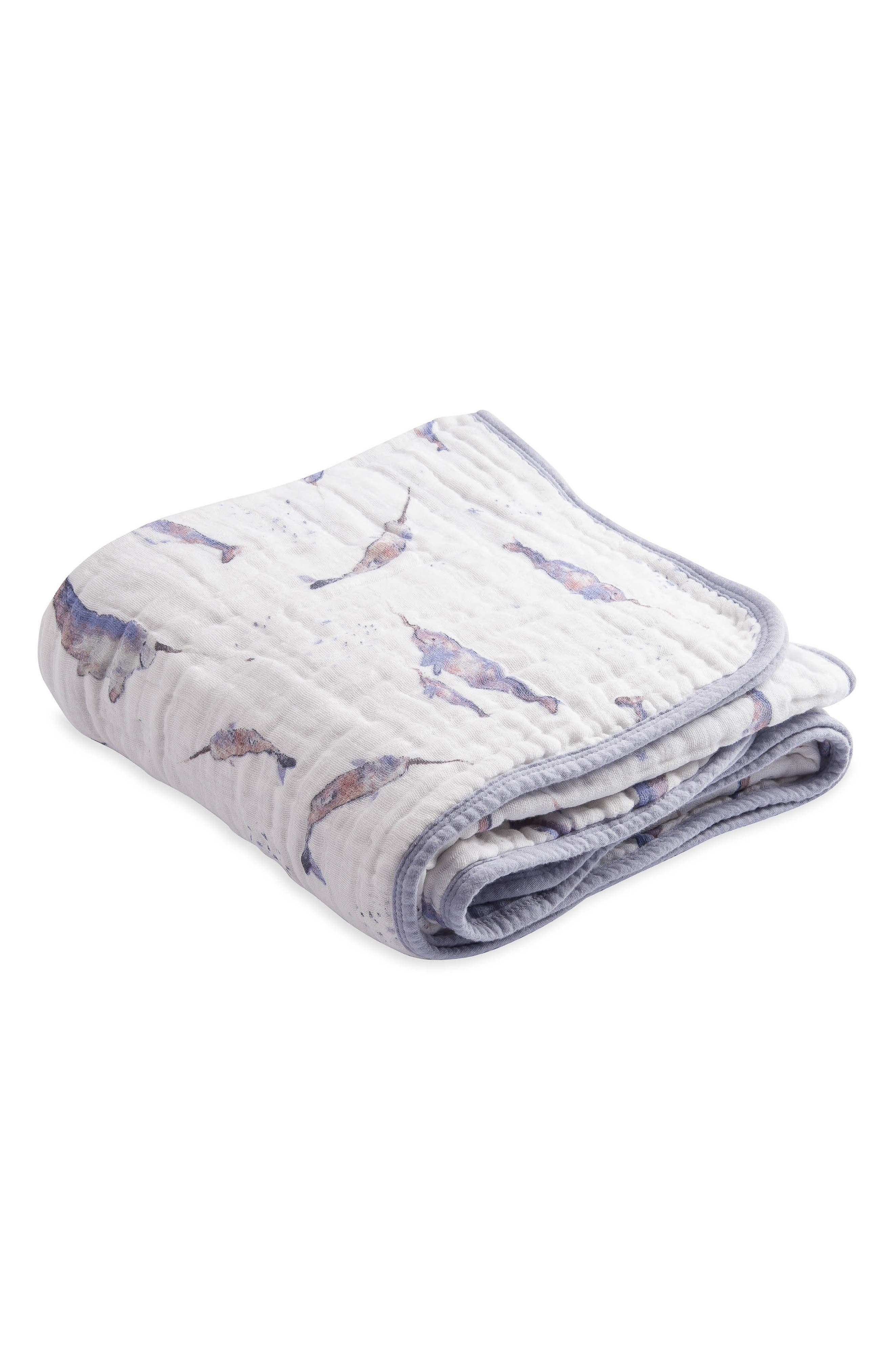 Cotton Muslin Quilt,                         Main,                         color, NARWHAL