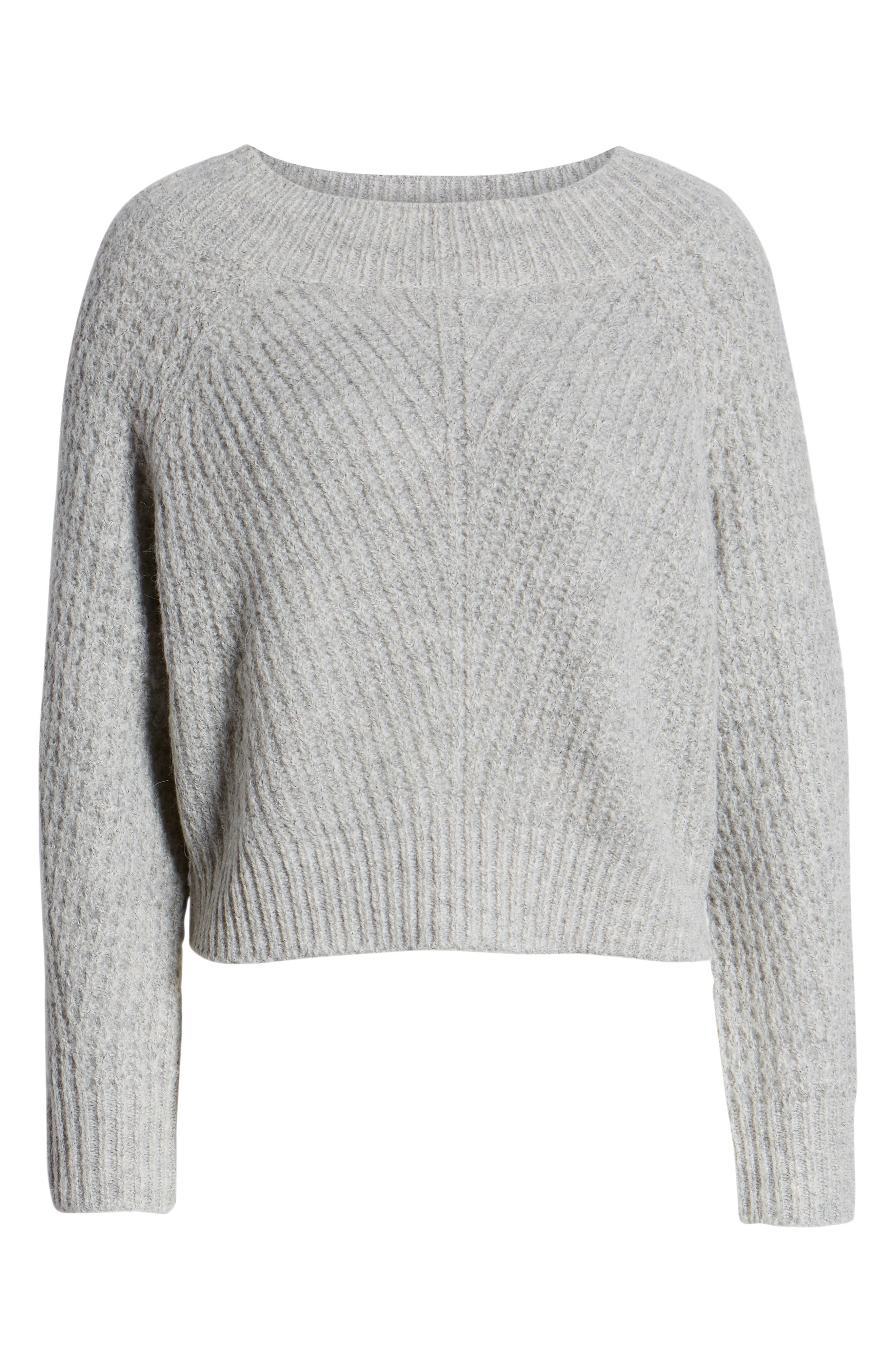 Chunky Crewneck Pullover Sweater,                             Alternate thumbnail 6, color,                             GREY PEARL HEATHER