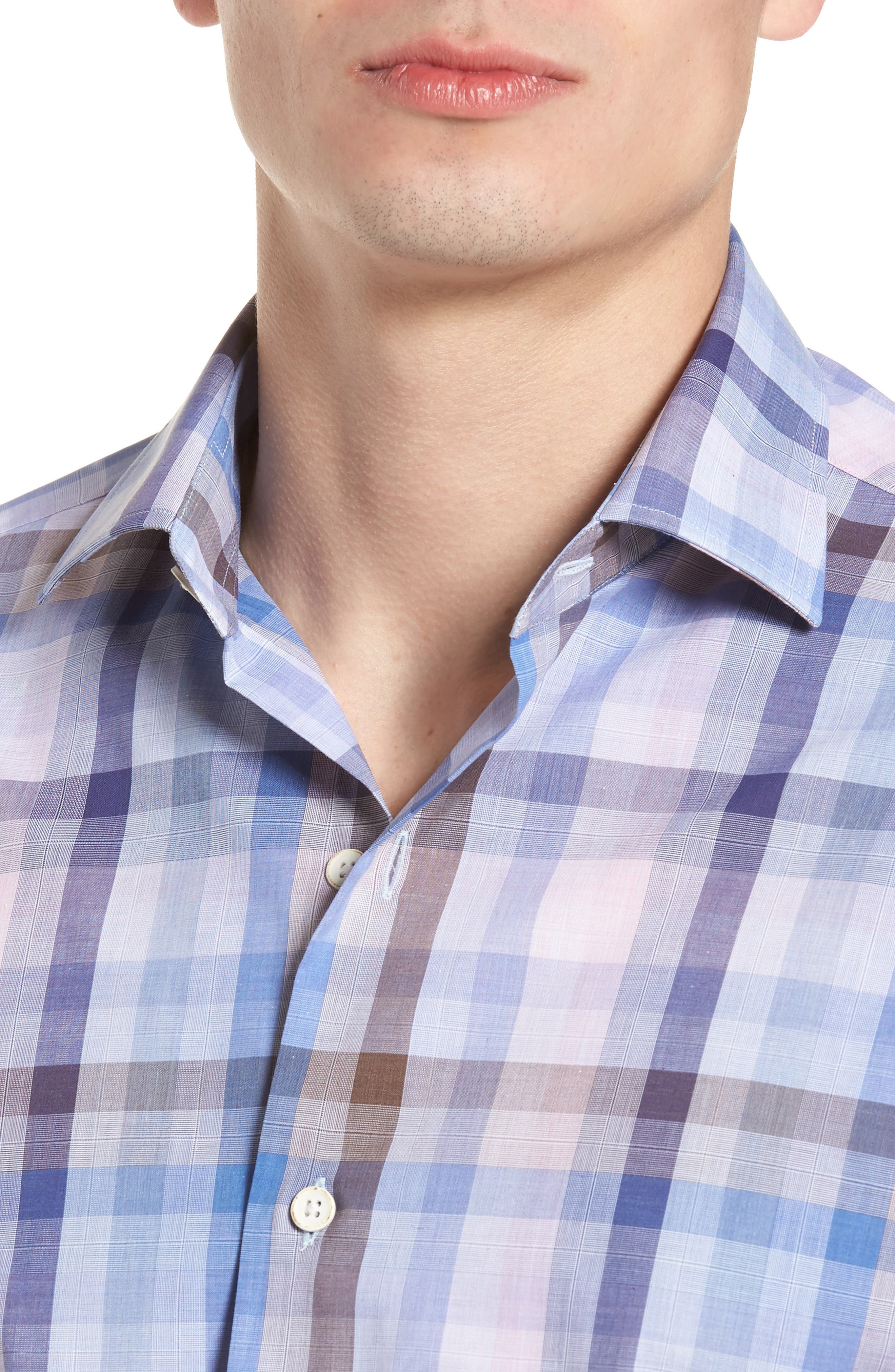 Tailored Fit Plaid Sport Shirt,                             Alternate thumbnail 4, color,                             650