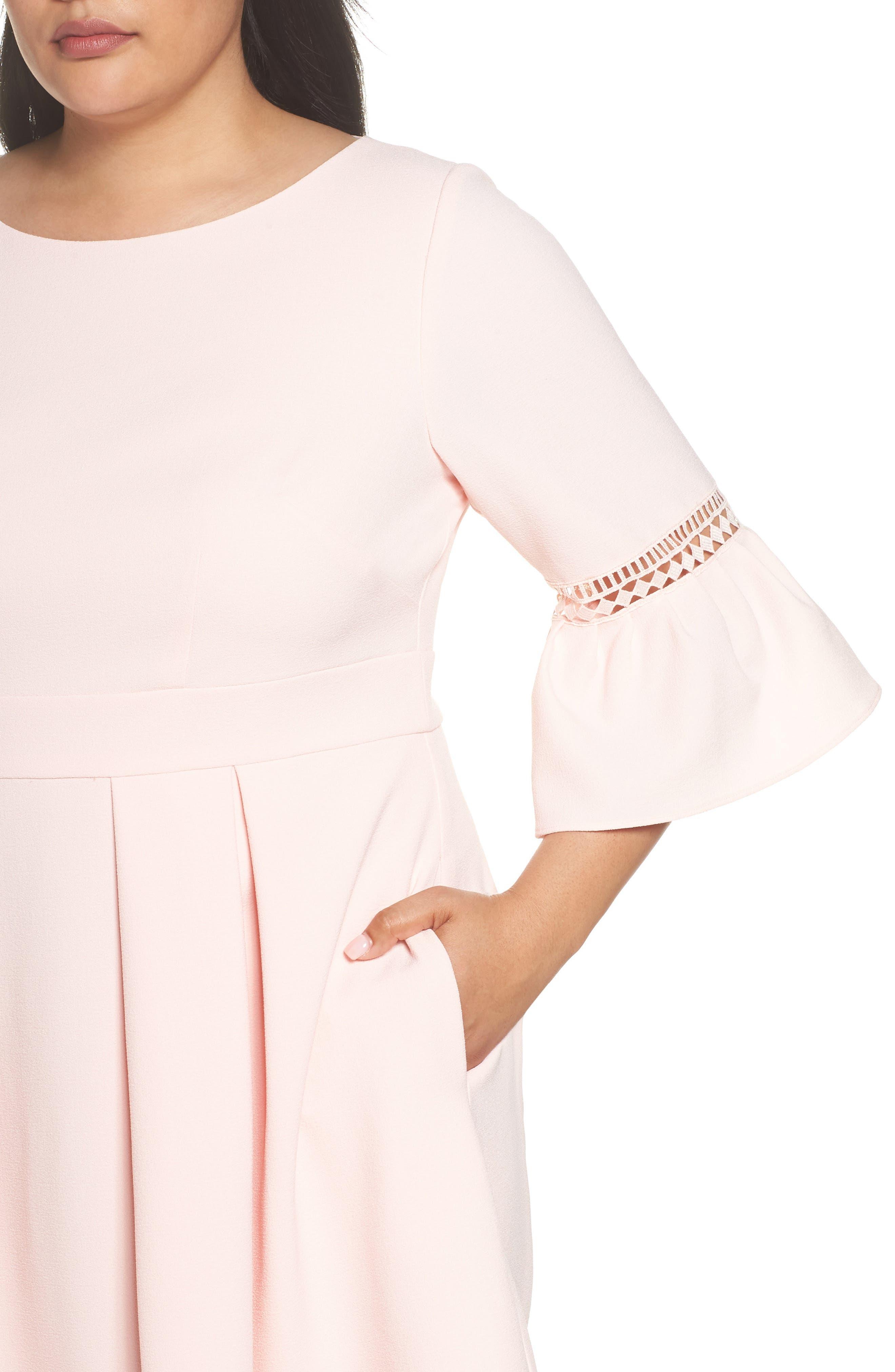 Bell Sleeve Fit & Flare Dress,                             Alternate thumbnail 4, color,                             BLUSH
