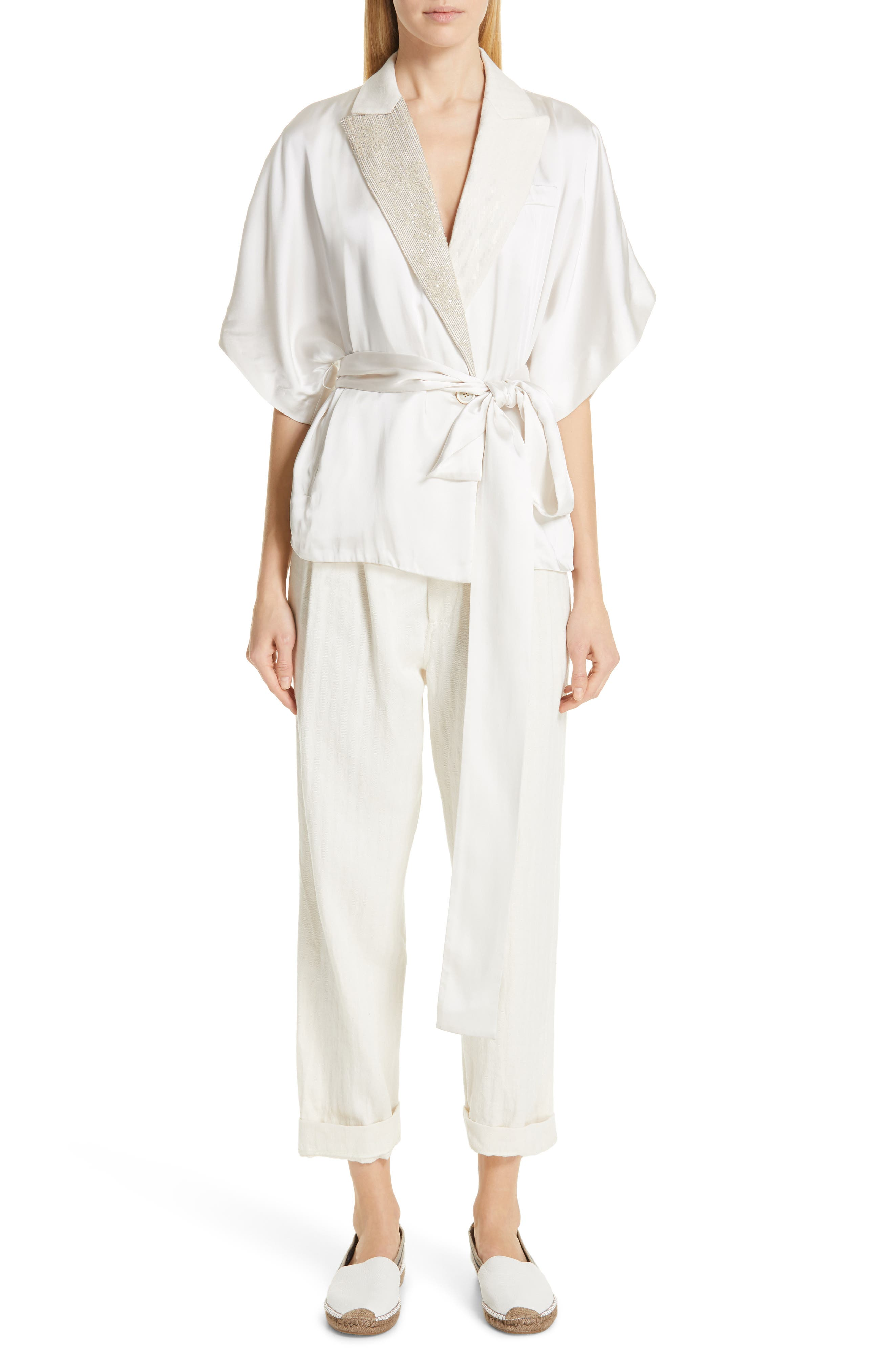 BRUNELLO CUCINELLI Embellished Lapel Satin Kimono Jacket, Main, color, BONE