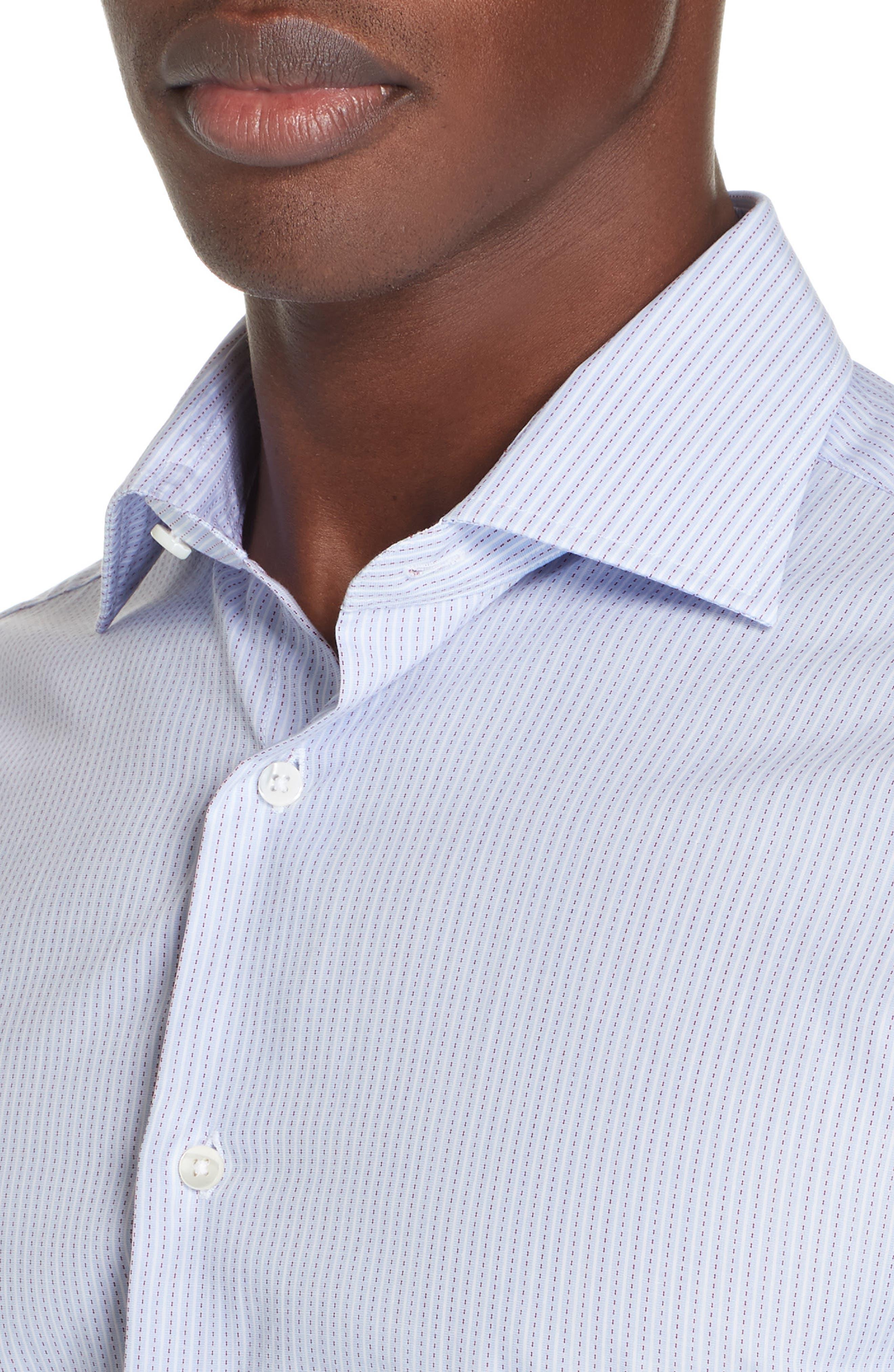 Trim Fit Stripe Dress Shirt,                             Alternate thumbnail 2, color,                             MED BLUE