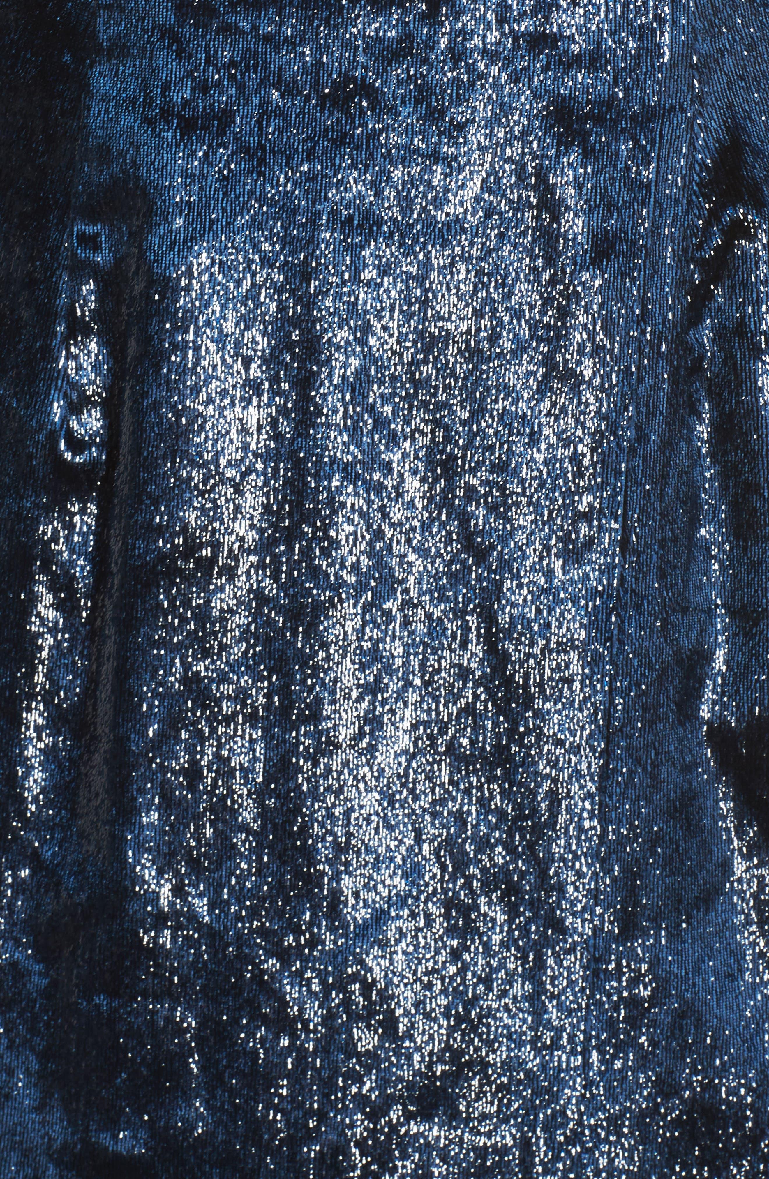 Open Back Textured Velvet Gown,                             Alternate thumbnail 5, color,                             NAVY