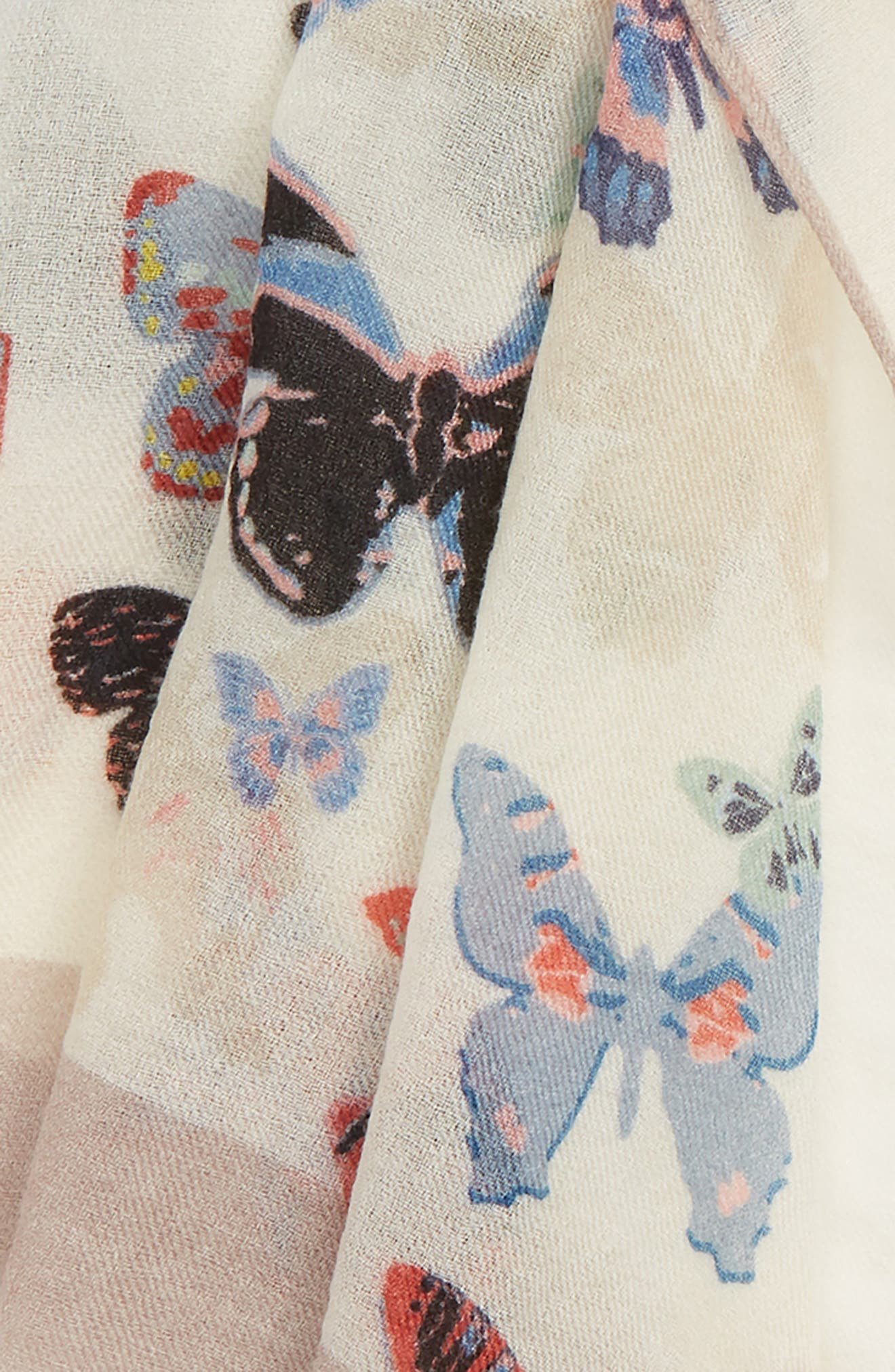 VALENTINO,                             Butterfly Wool Scarf,                             Alternate thumbnail 3, color,                             ALMOND