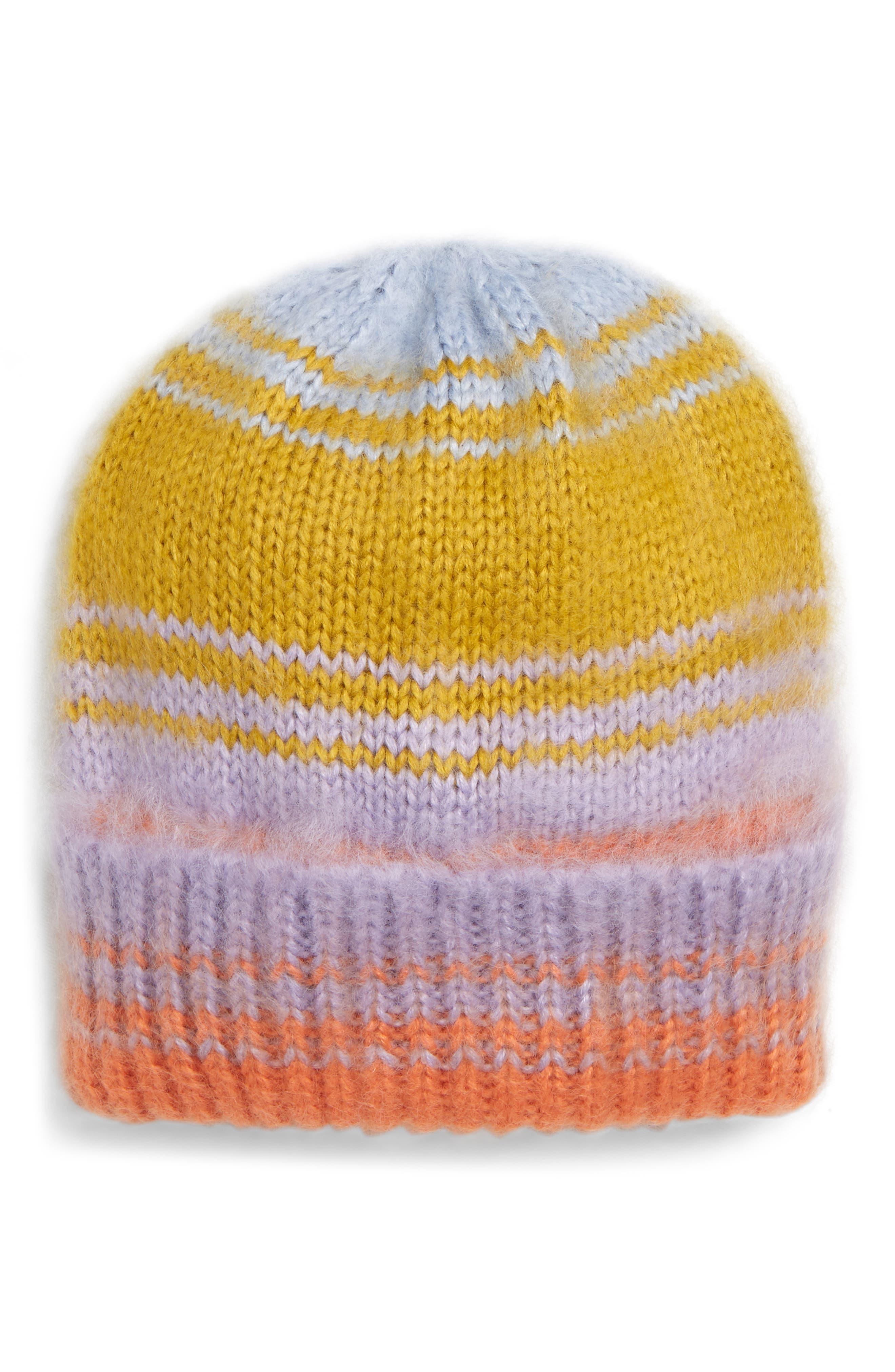 Topshop Brush Stripe Ombre Beanie - Orange