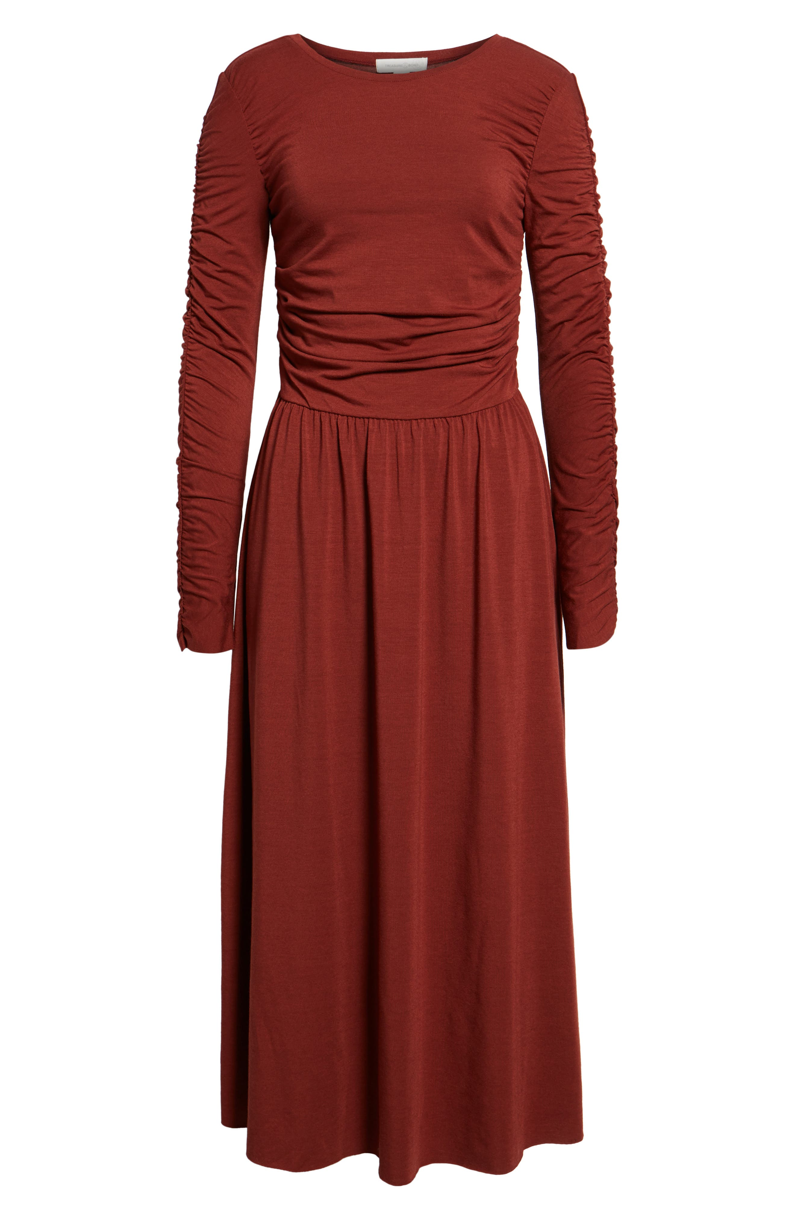 Ruched Jersey Knit Dress,                             Alternate thumbnail 6, color,                             200