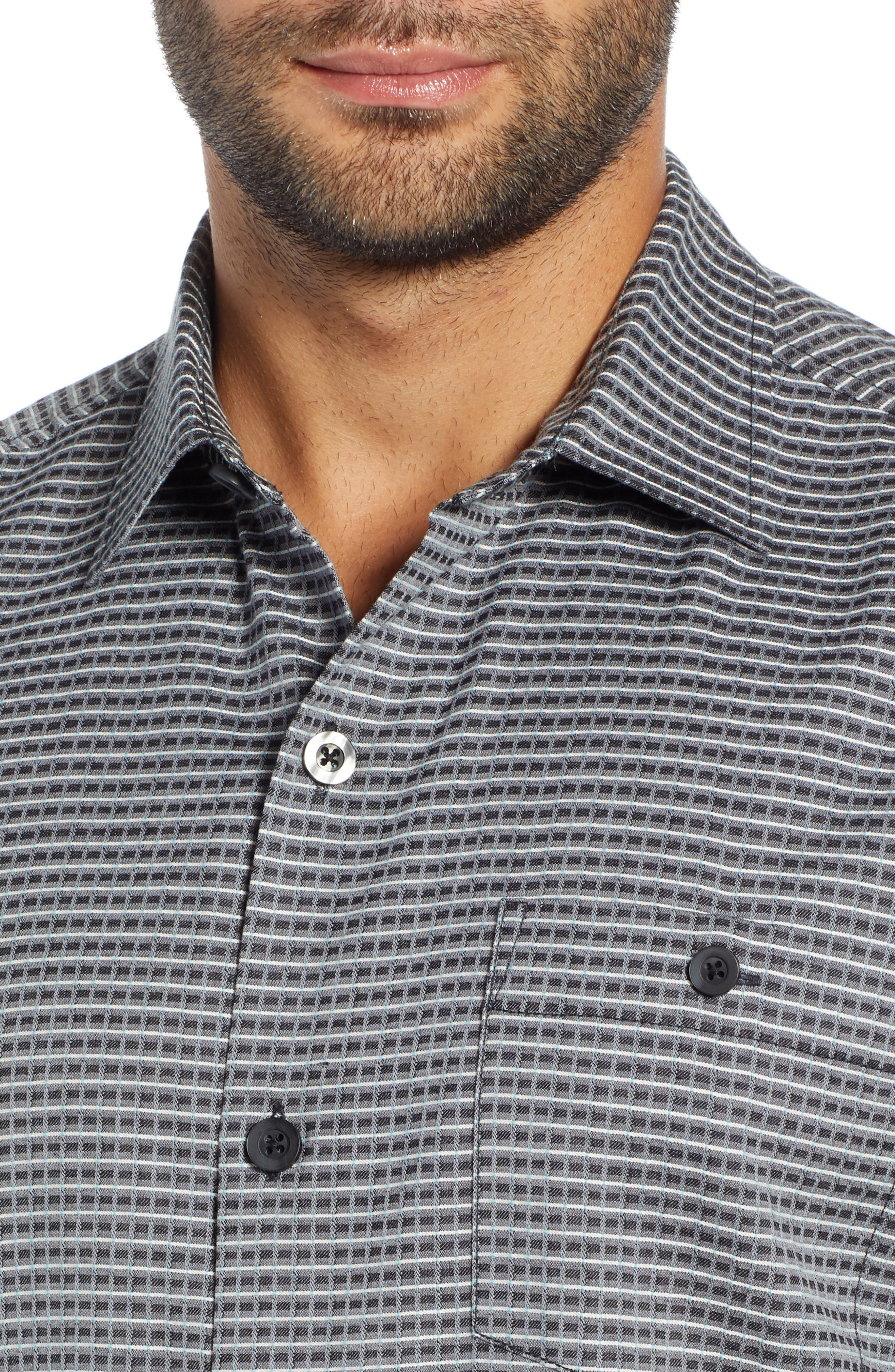 Check-in-the-Tropics Silk Blend Camp Shirt,                             Alternate thumbnail 2, color,                             BLACK