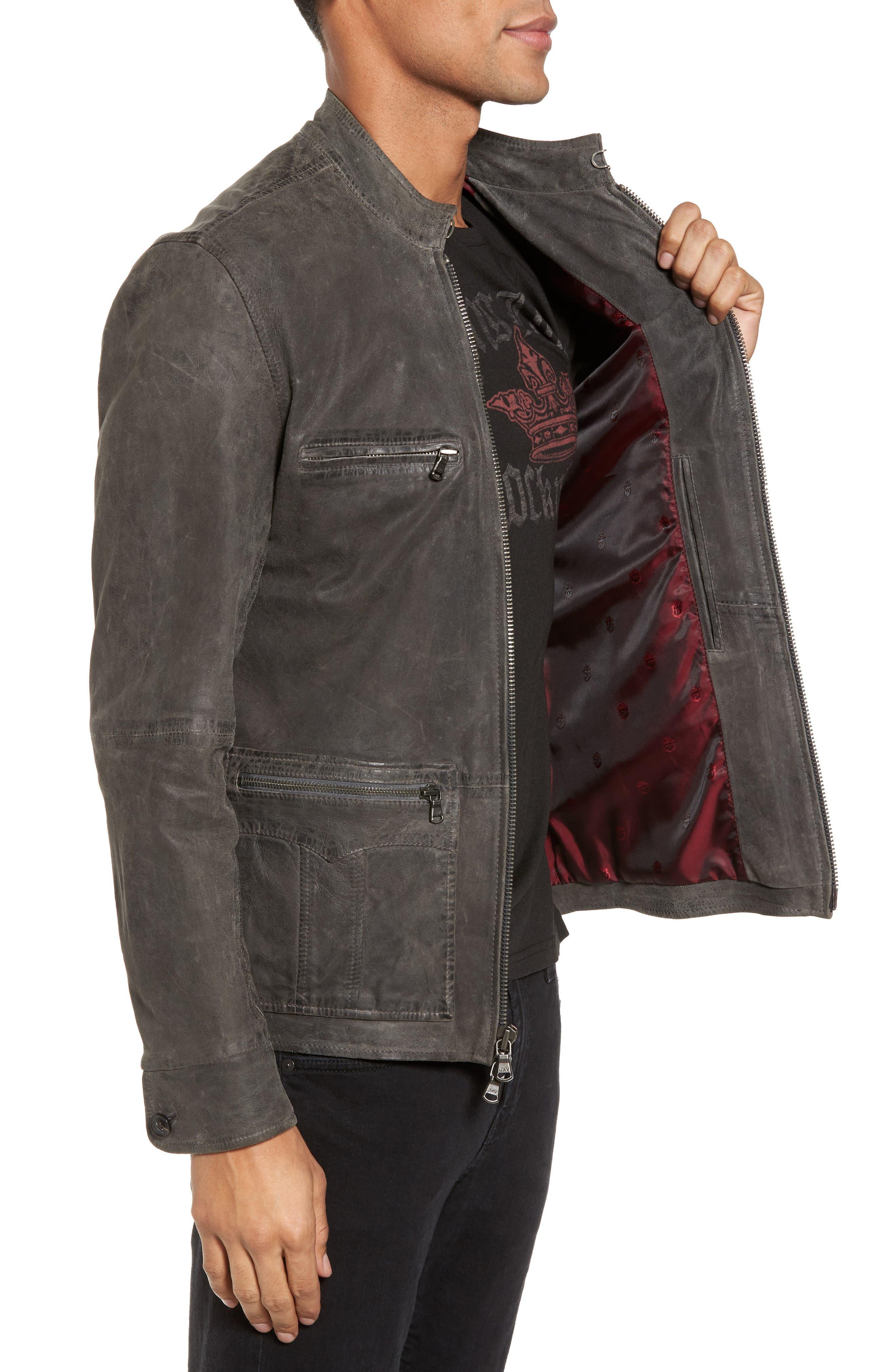 Leather Racer Jacket,                             Alternate thumbnail 3, color,                             036