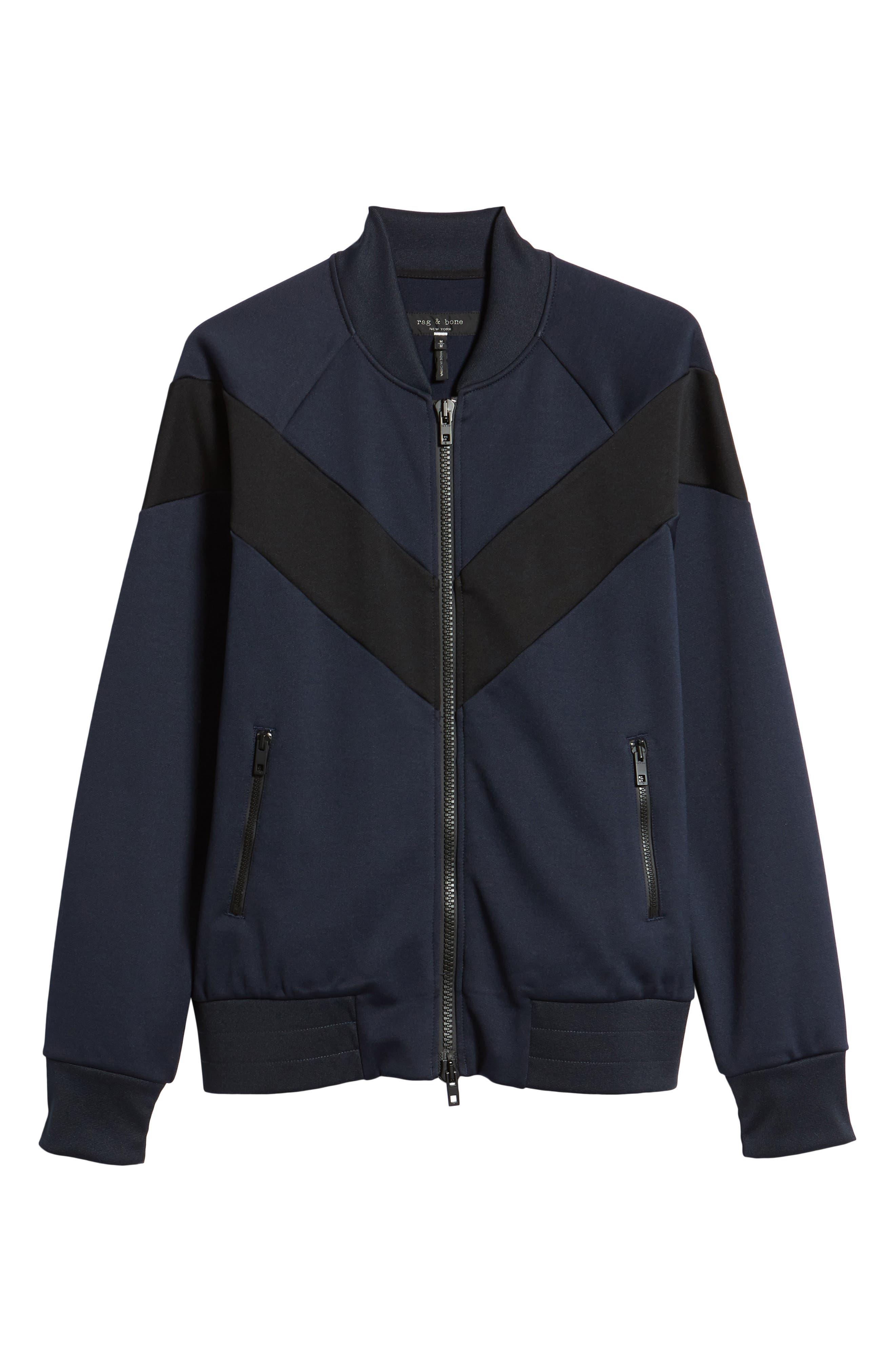 Colorblock Slim Fit Bomber Jacket,                             Alternate thumbnail 5, color,                             NAVY/ BLACK