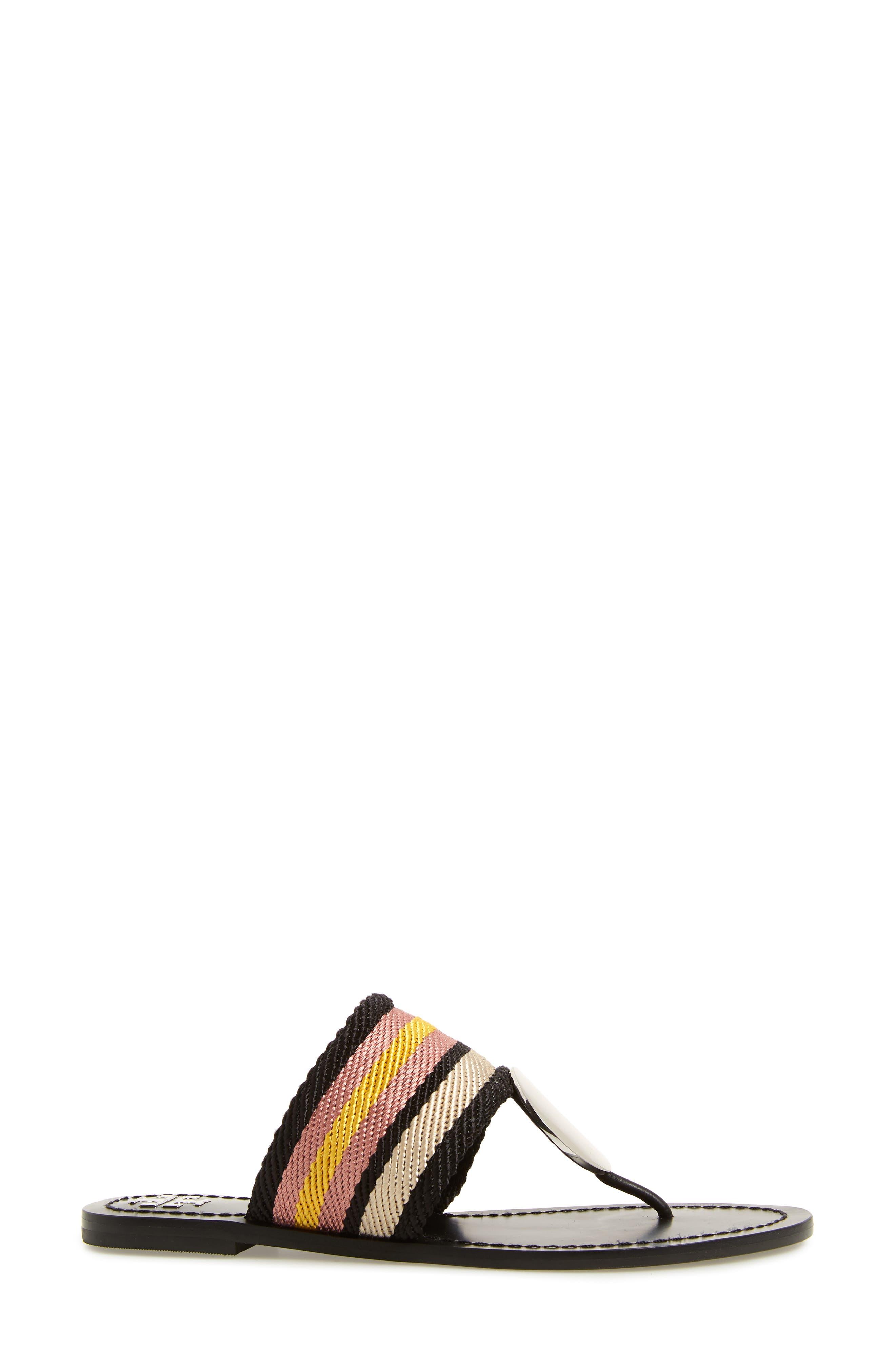 TORY BURCH,                             Patos Sandal,                             Alternate thumbnail 3, color,                             BLACK STRIPE/ PERFECT BLACK