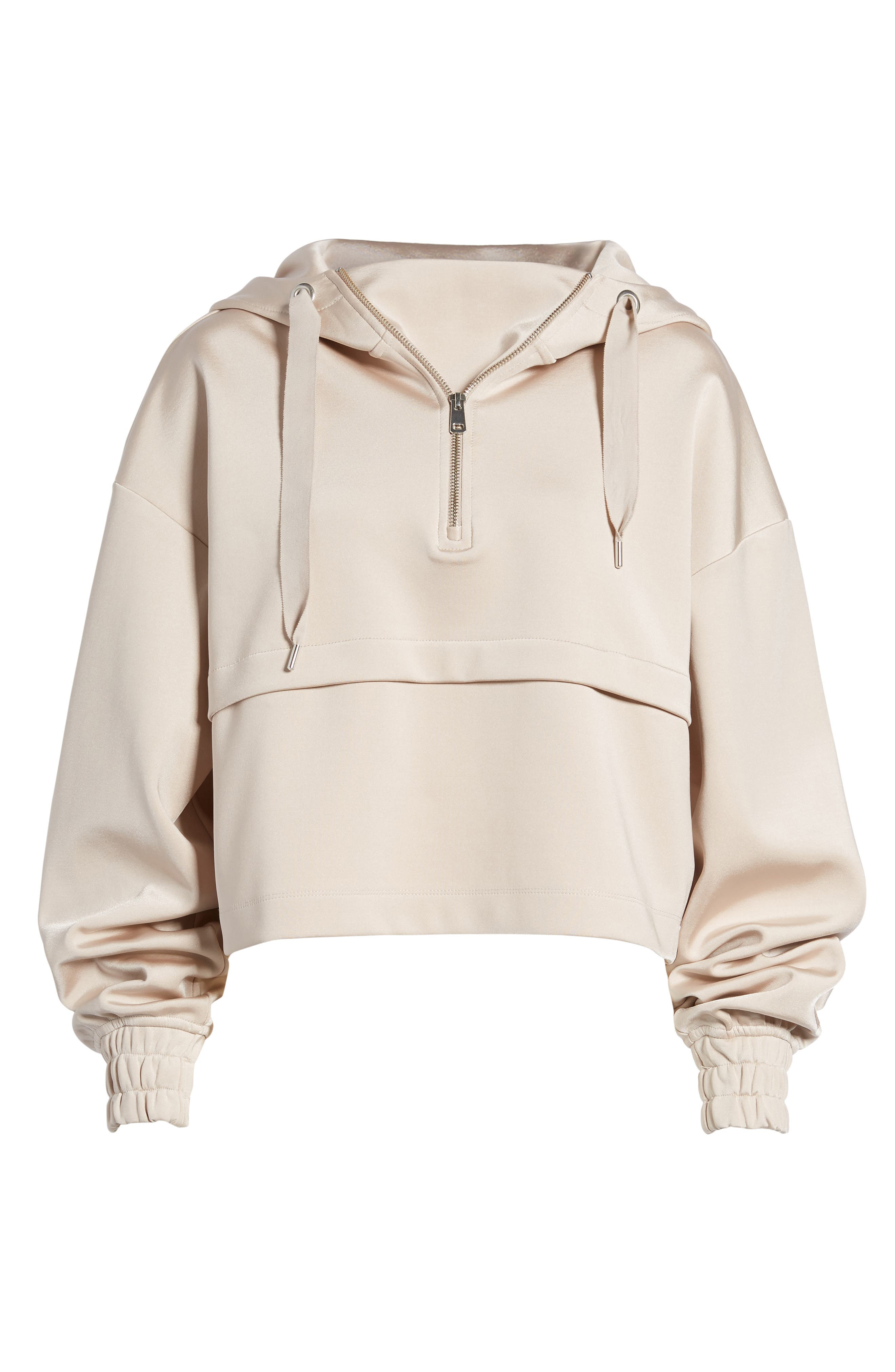 Satin Crop Hoodie,                             Alternate thumbnail 7, color,