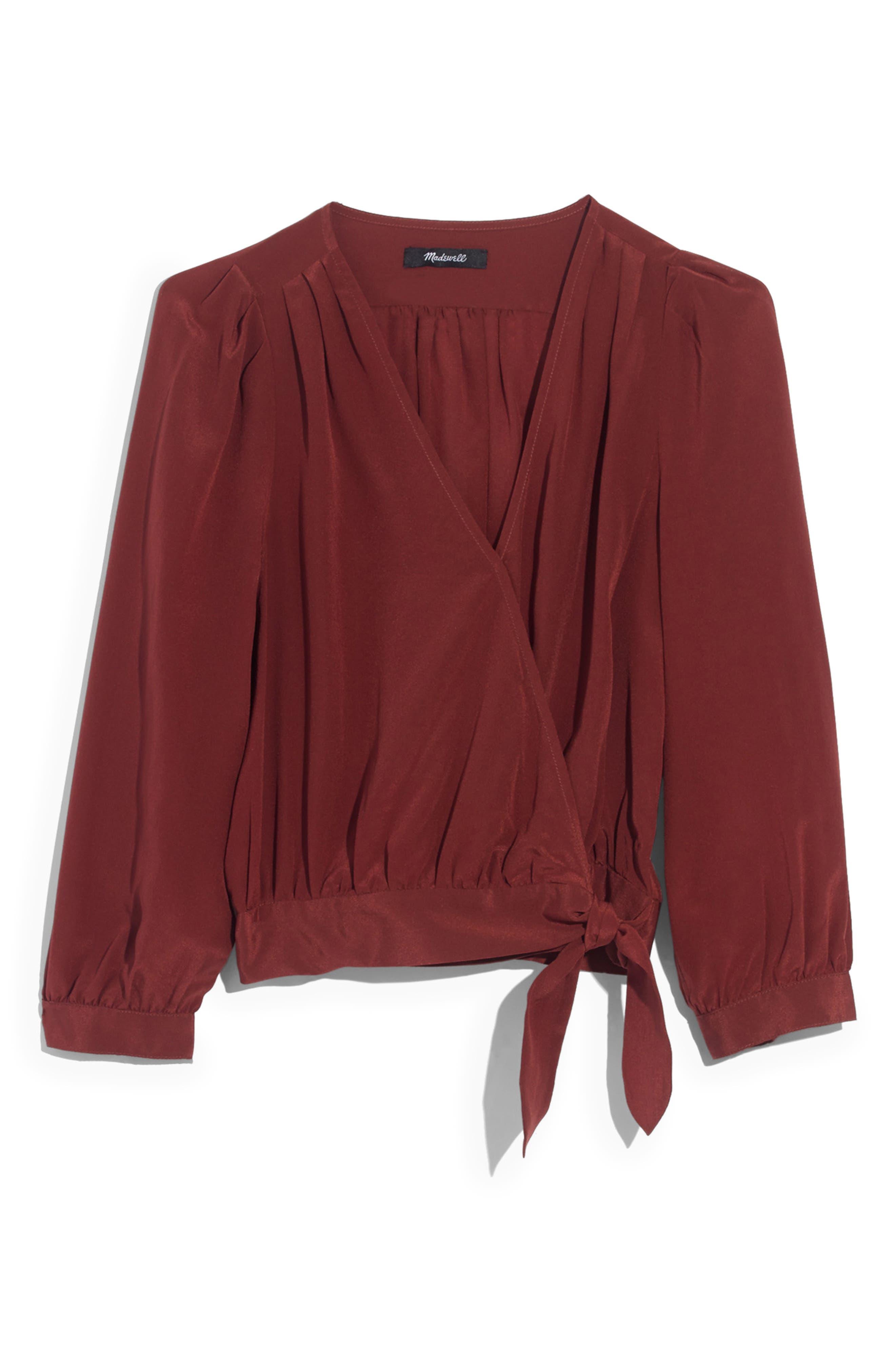 Silk Wrap Top,                             Alternate thumbnail 4, color,                             BURNISHED MAHOGANY
