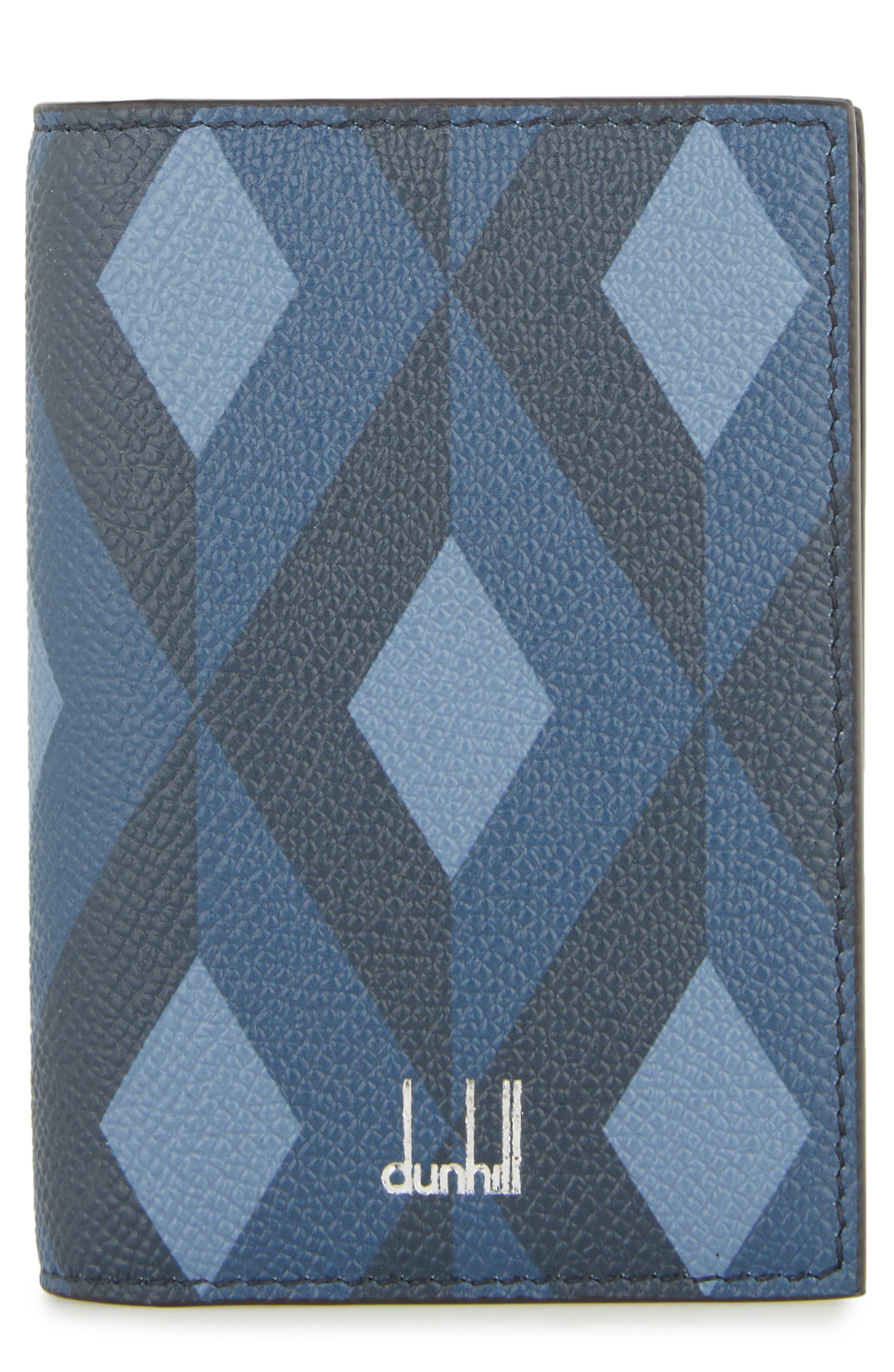 Cadogan Leather Business Card Case,                             Main thumbnail 1, color,                             BLUE