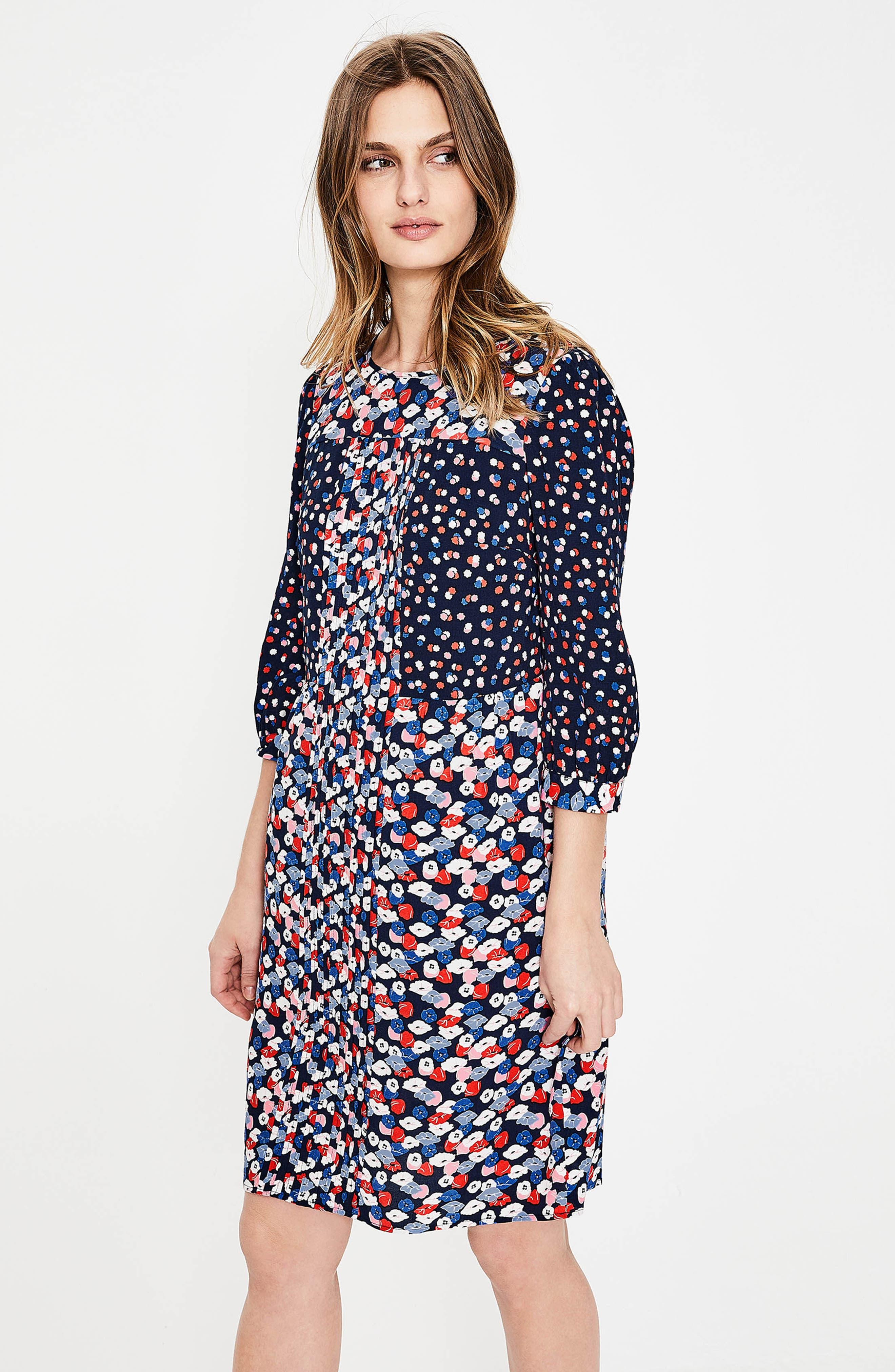 Hotchpotch Pattern Mix Pintuck Dress,                             Alternate thumbnail 7, color,                             486