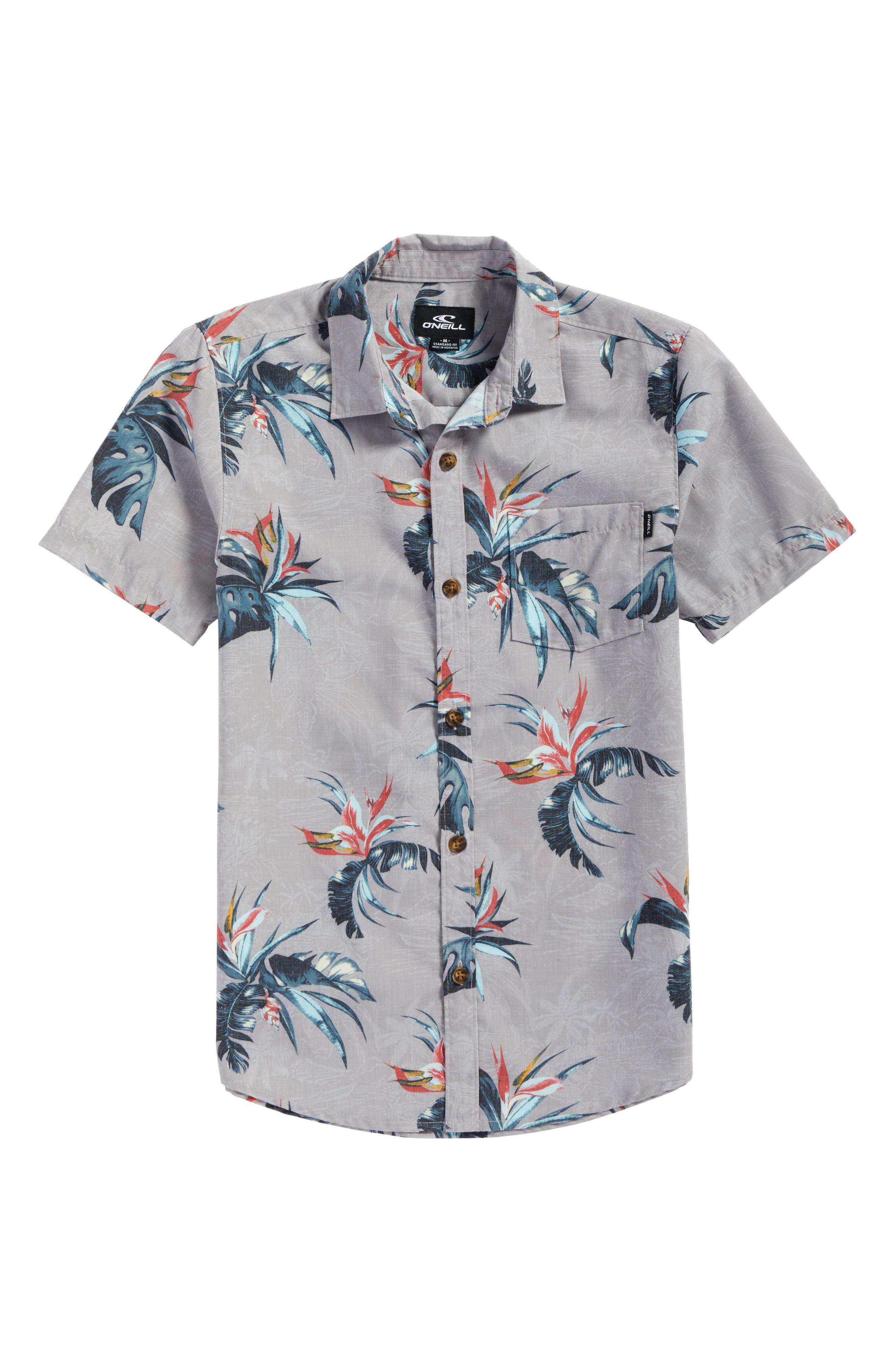 Islander Floral Print Woven Shirt,                             Main thumbnail 1, color,                             039