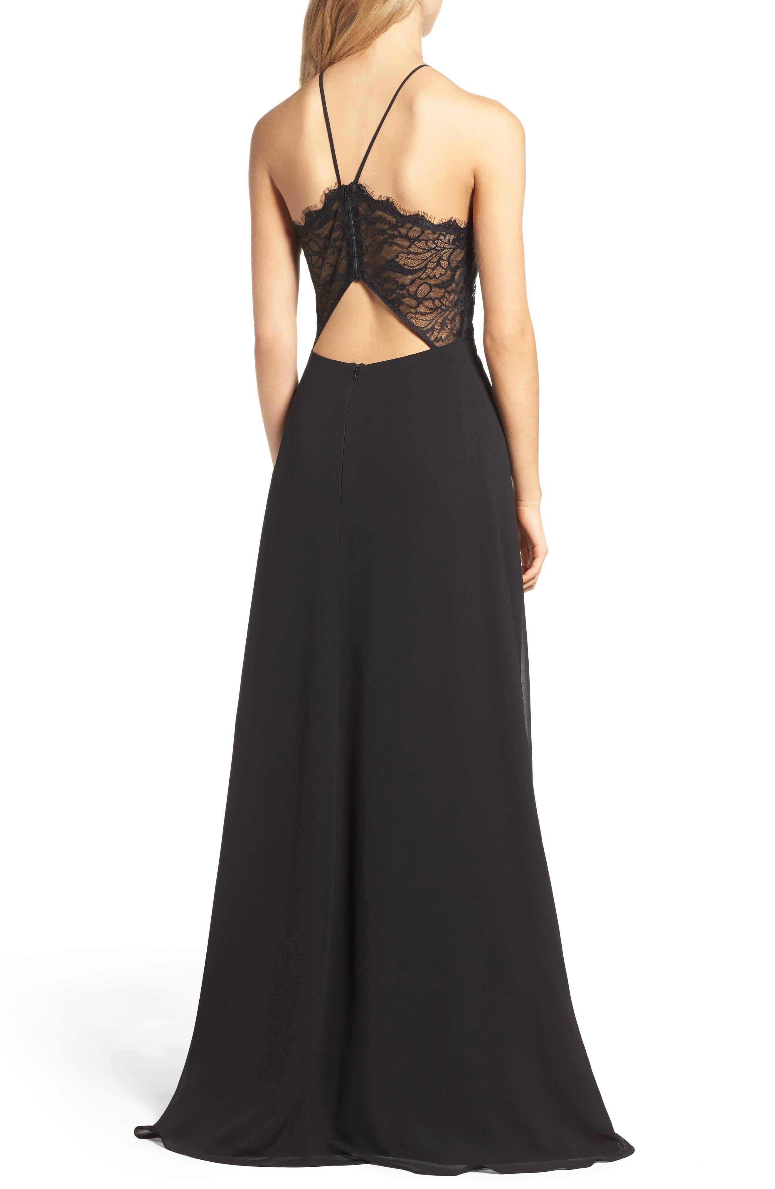 Lace Halter Gown,                             Alternate thumbnail 2, color,                             BLACK
